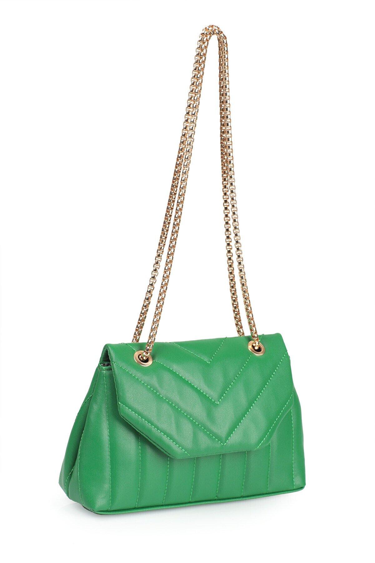 Etka Çanta Kadın Yeşil Nakışlı Mini Gissle Çanta