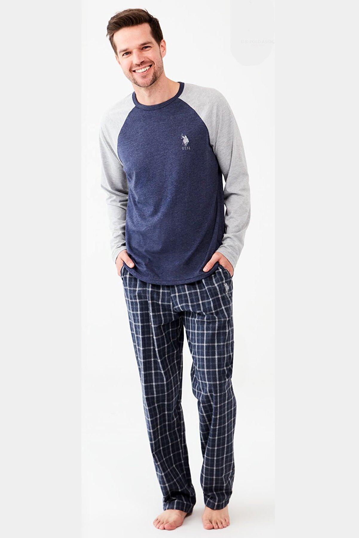 US Polo Assn Altı Kareli Uzun Kol Erkek Pijama Takım