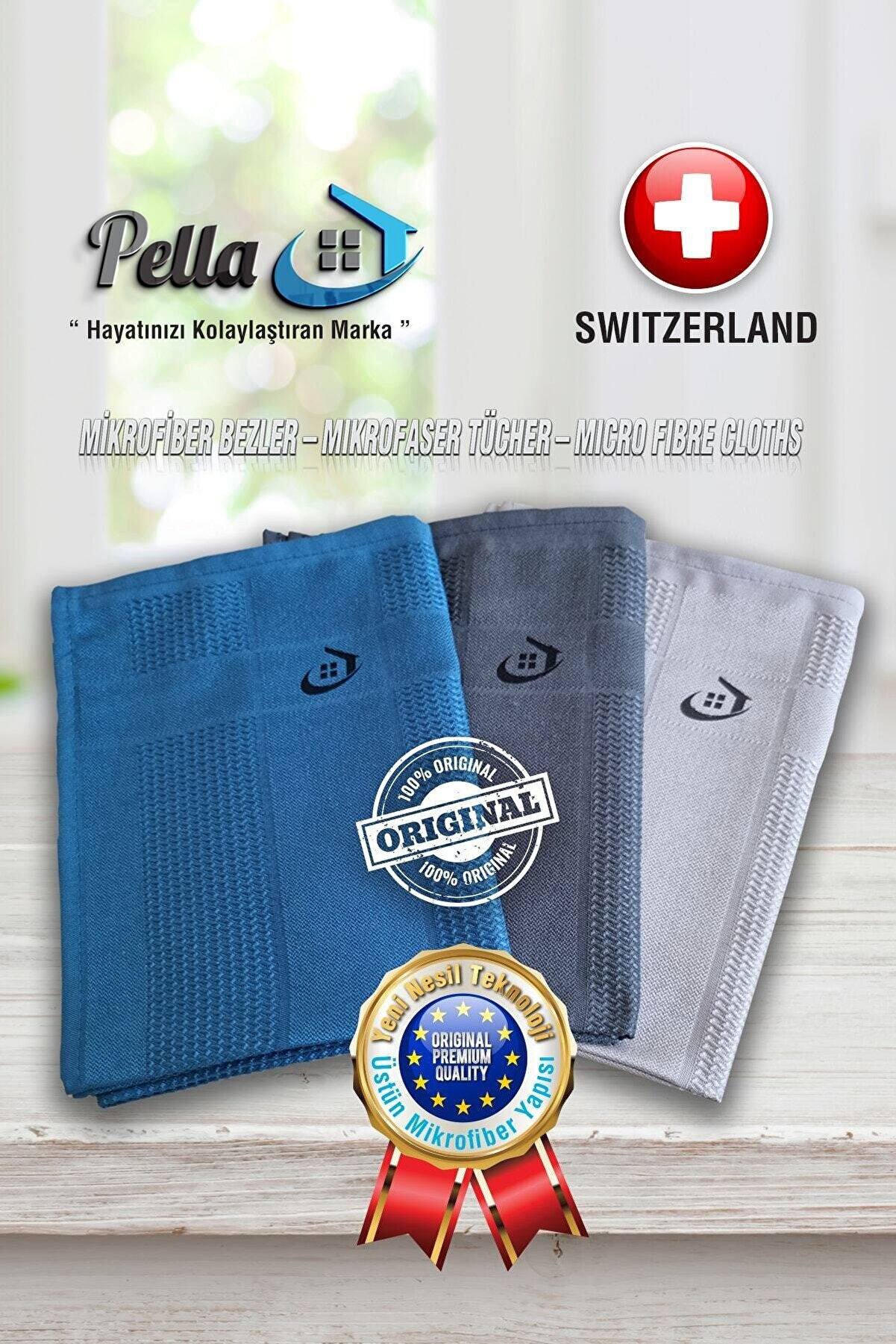 Pella Fabrika Satış Mağazası-Orijinal 3'lü Mikrofiber Temizlik Bezi-İthal Ürün-Atiye & Selçuk Türkal