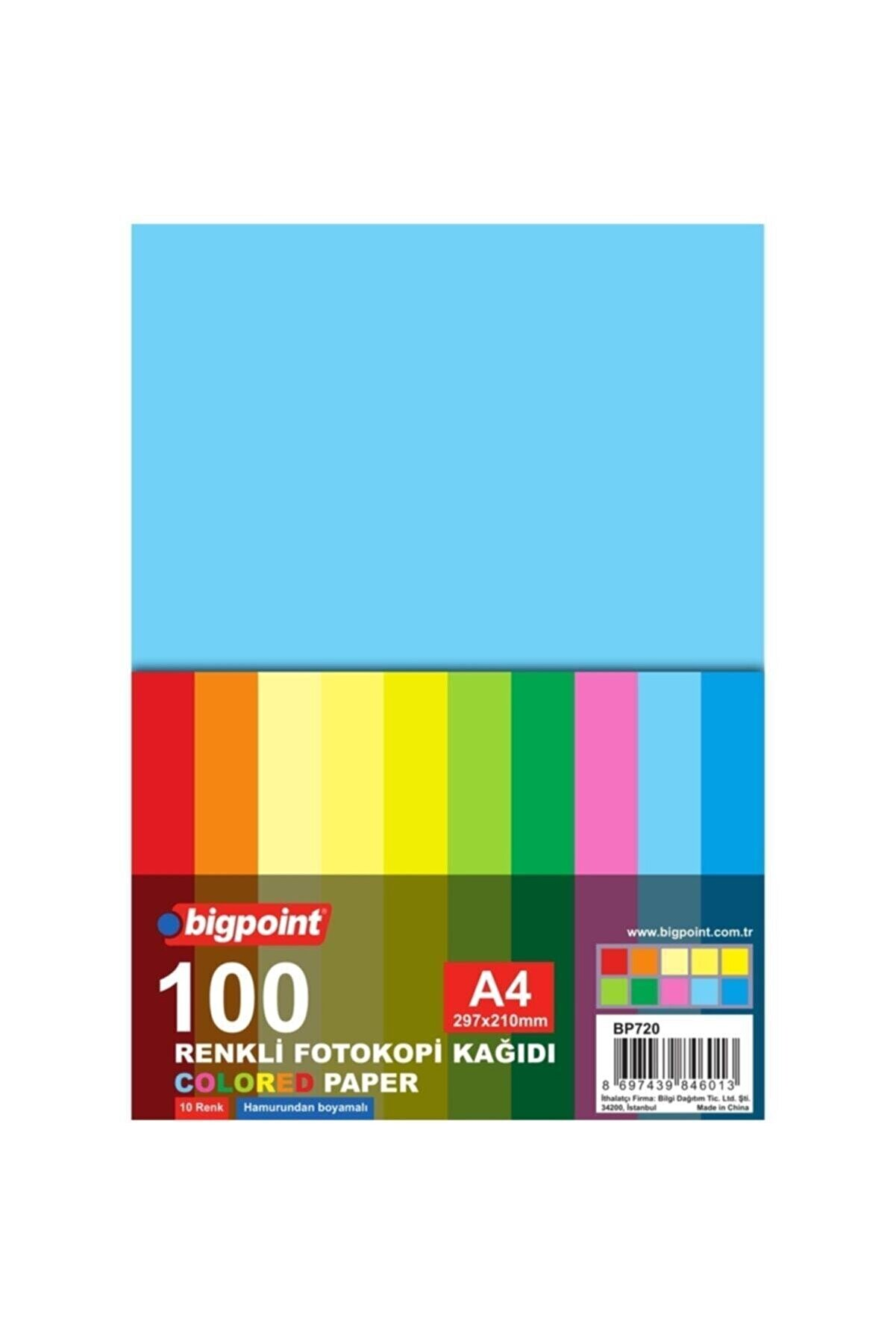 Bigpoint Renkli Fotokopi Kağıdı 80 gr A4 100 Yaprak 10 Renk