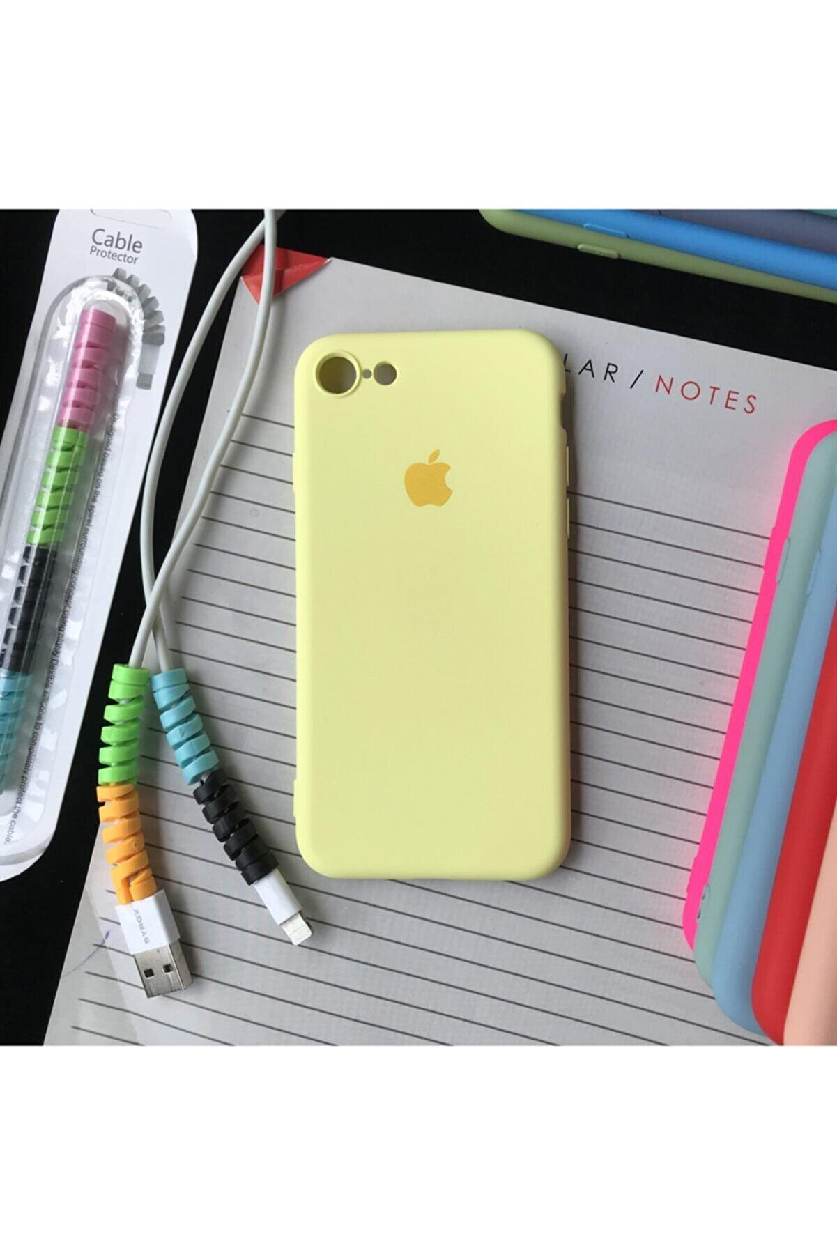 SUPPO Iphone 7 Ve 8 Modellere Uyumlu, Logolu Lansman Kılıf Ve Kablo Koruyucu Makaron