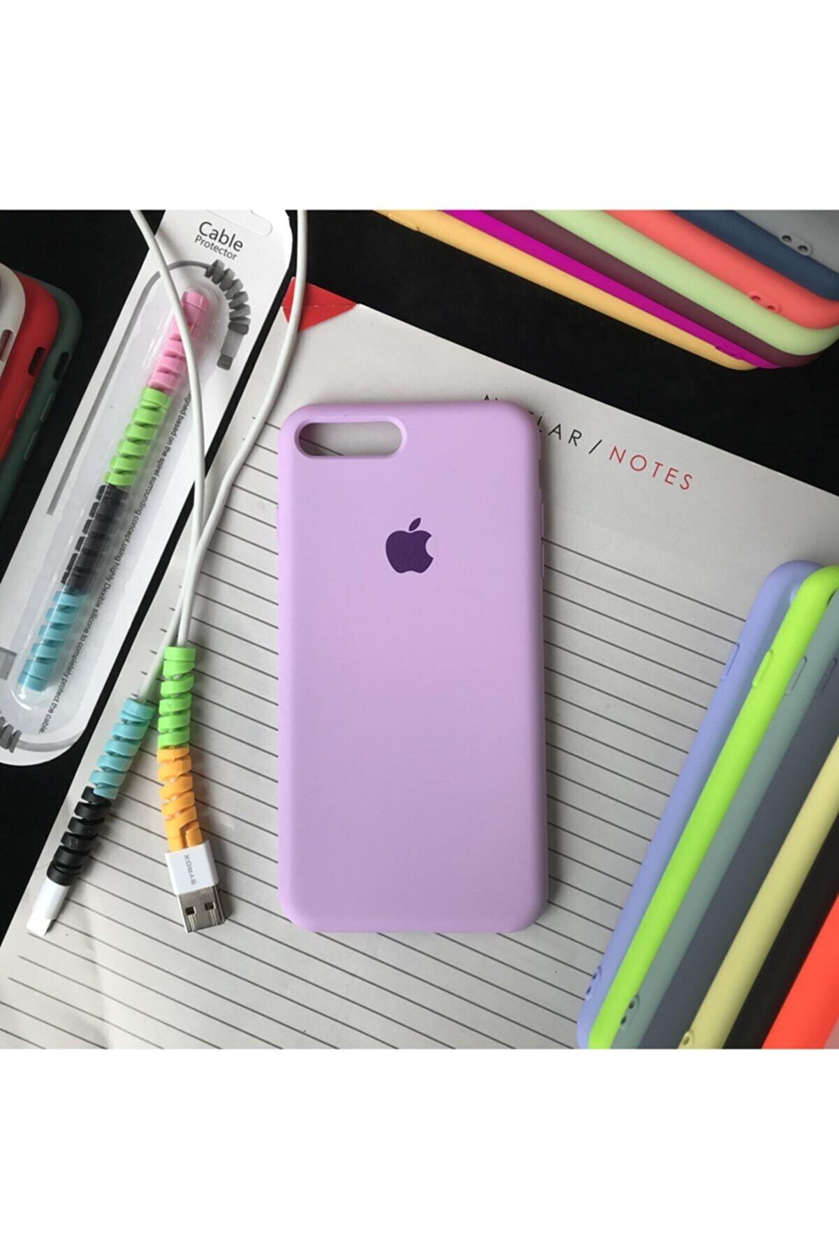 SUPPO Iphone 7 Plus Ve 8 Plus Modellere Uyumlu, Logolu Lansman Kılıf Ve Kablo Koruyucu Makaron