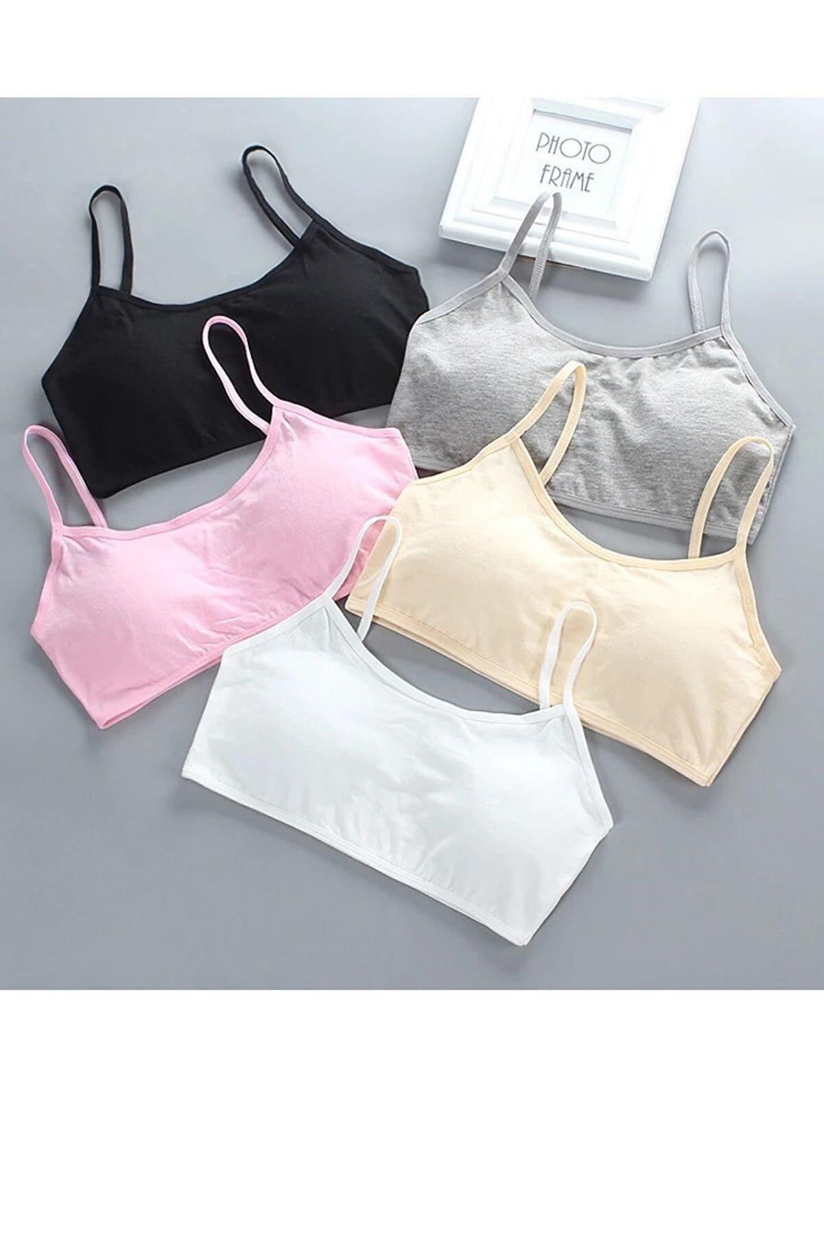ld lidya underwear Kadın Renkli 5li Asortili Ip Askılı Kaplı Yarım Atlet 6801