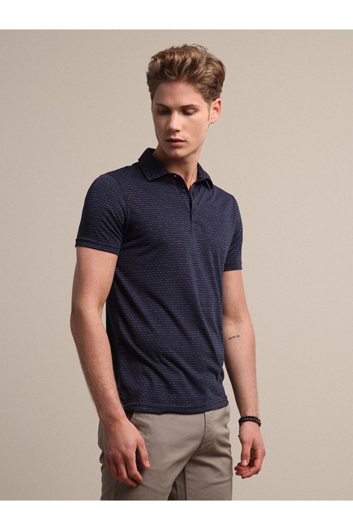 Kip Erkek Lacivert Jakarlı Örme T - Shirt KP10120455