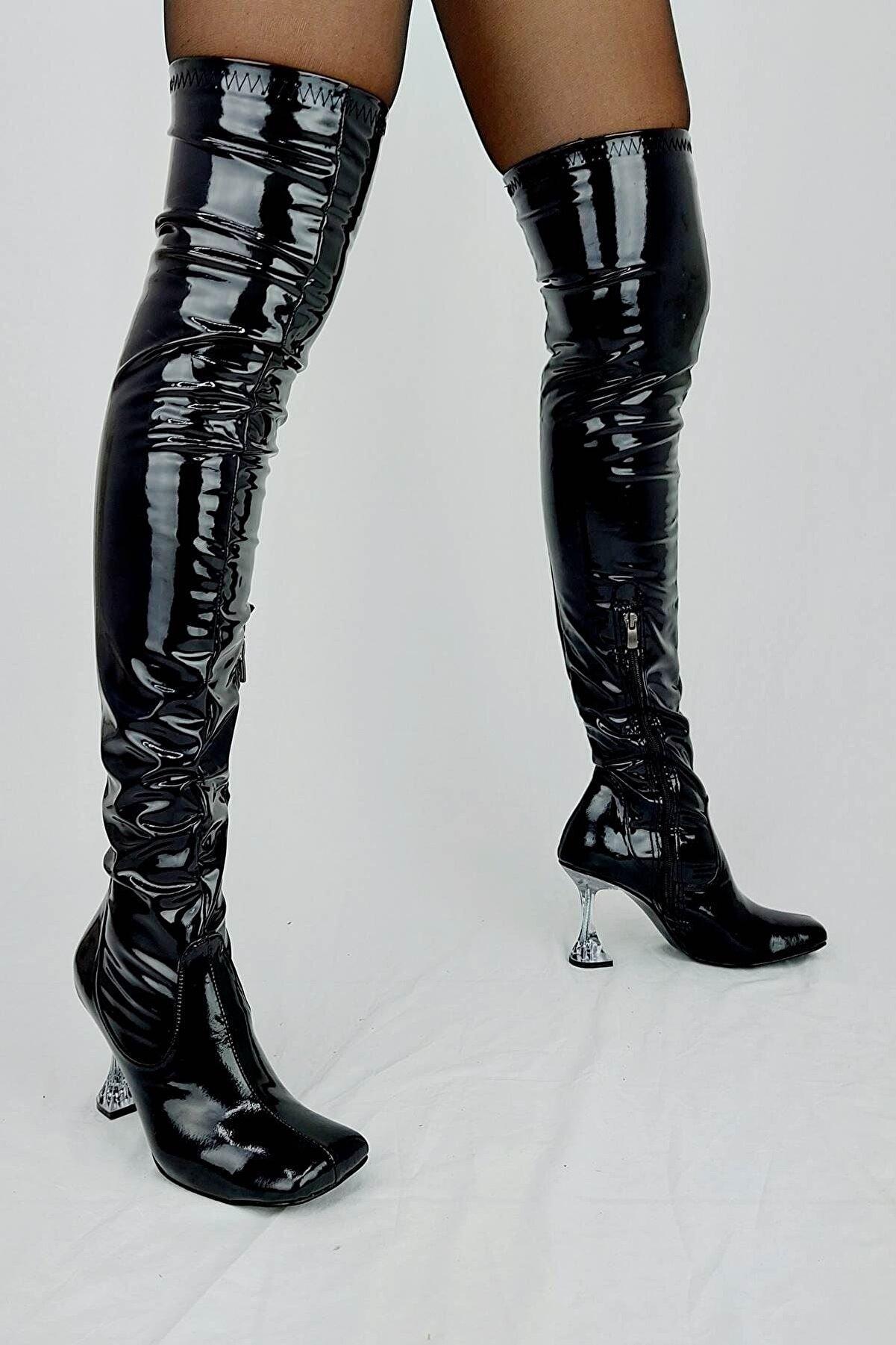 Venüs Ivan Siyah Rugan Fashion Topuklu Diz Üstü Çizme