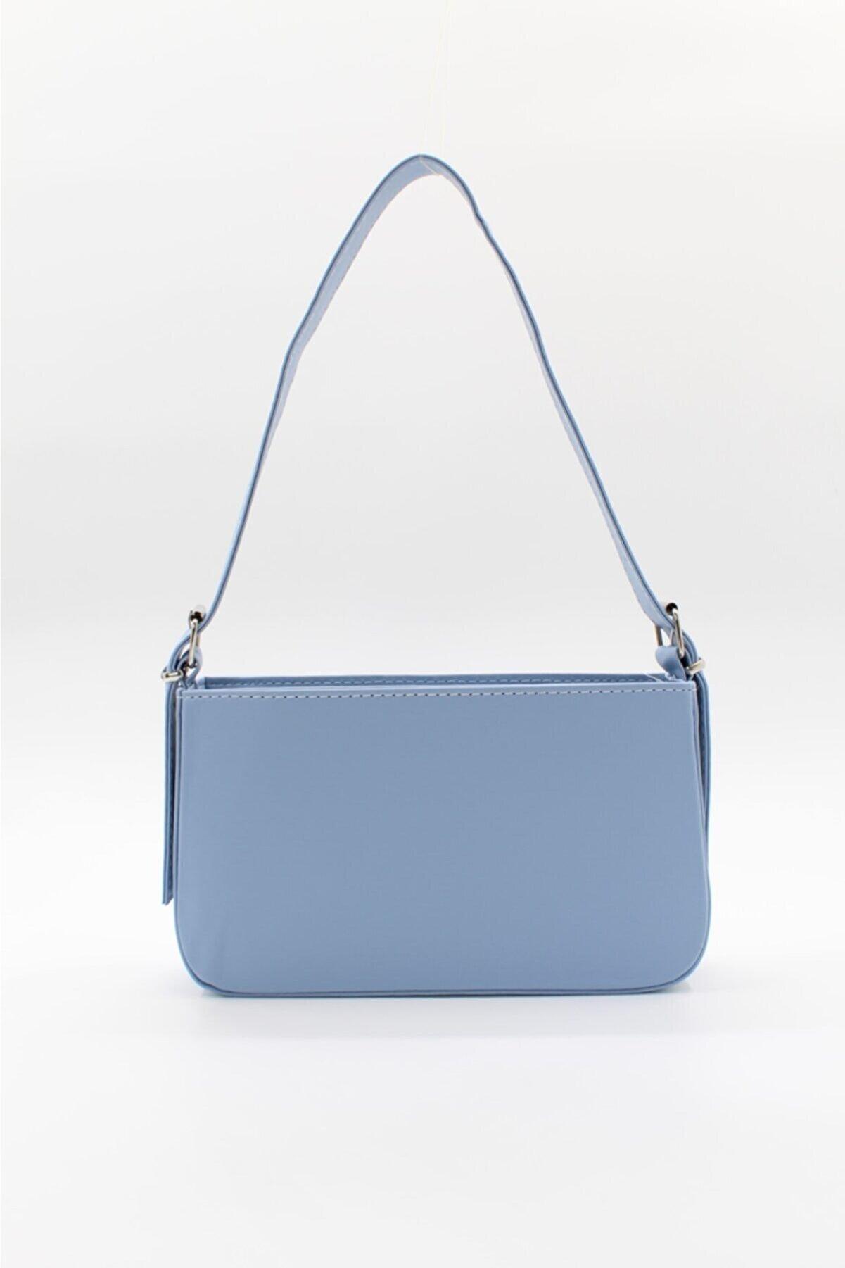 roma italy Kadın Fermuarlı Baget Çanta Açık Mavi