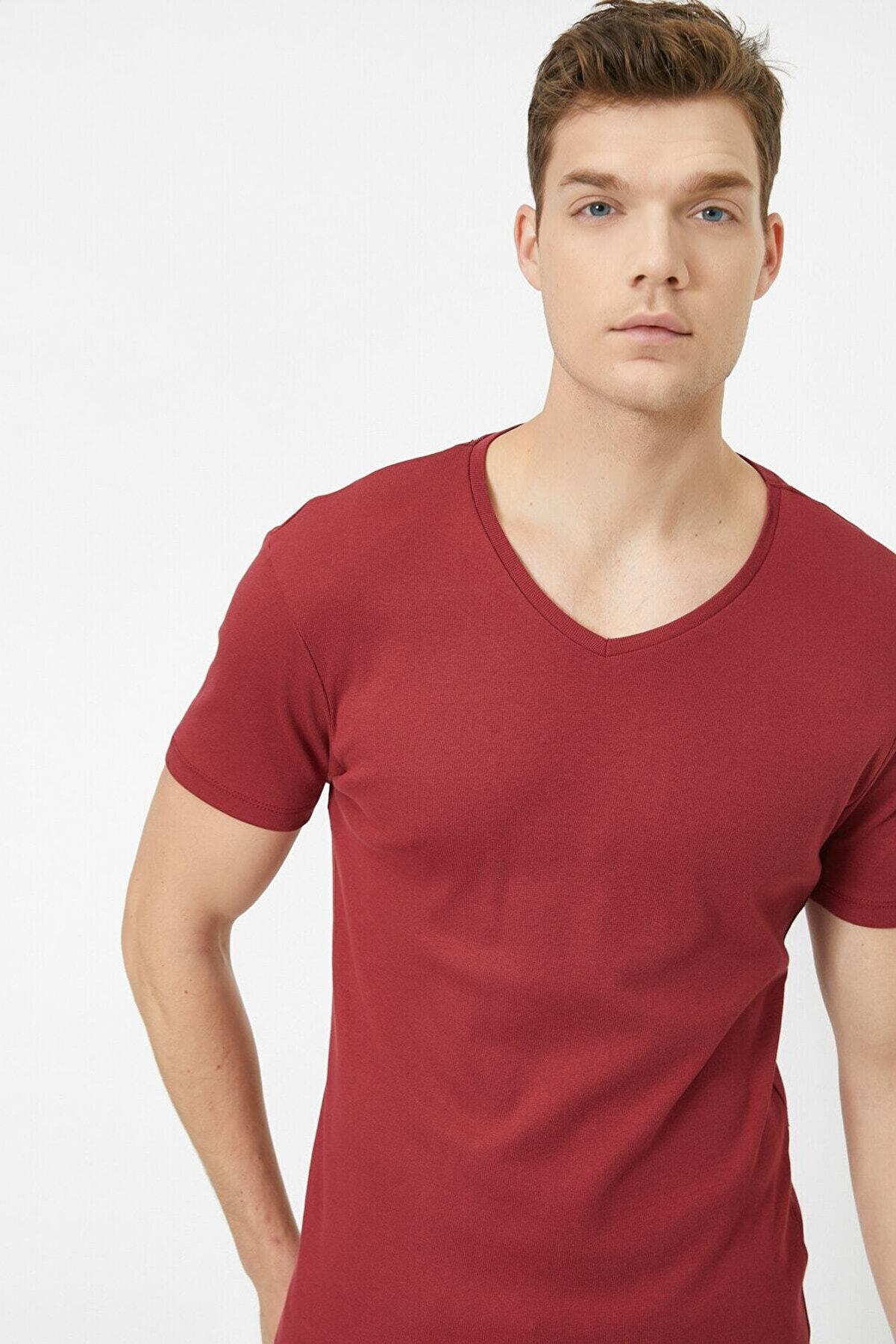 Koton Erkek Bordo T-Shirt 0YAM12139LK