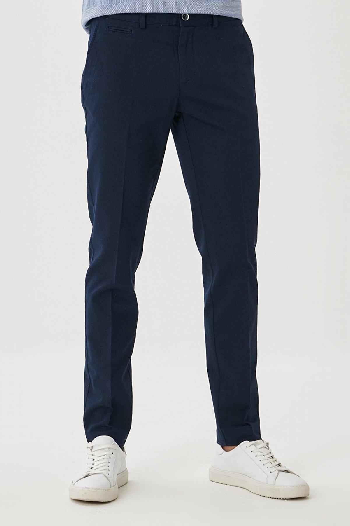 Altınyıldız Classics Erkek Lacivert Slim Fit Dar Kesim Yan Cep Casual Pantolon