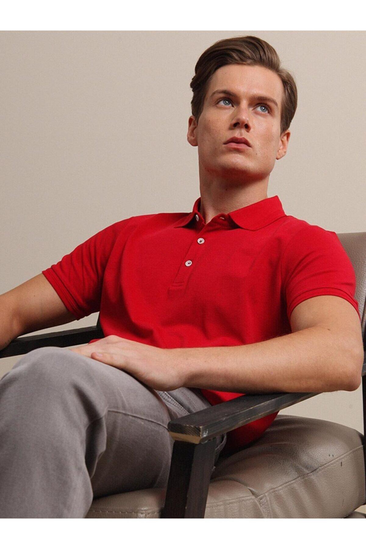 Kip Erkek Kırmızı Düz Örme T- Shirt