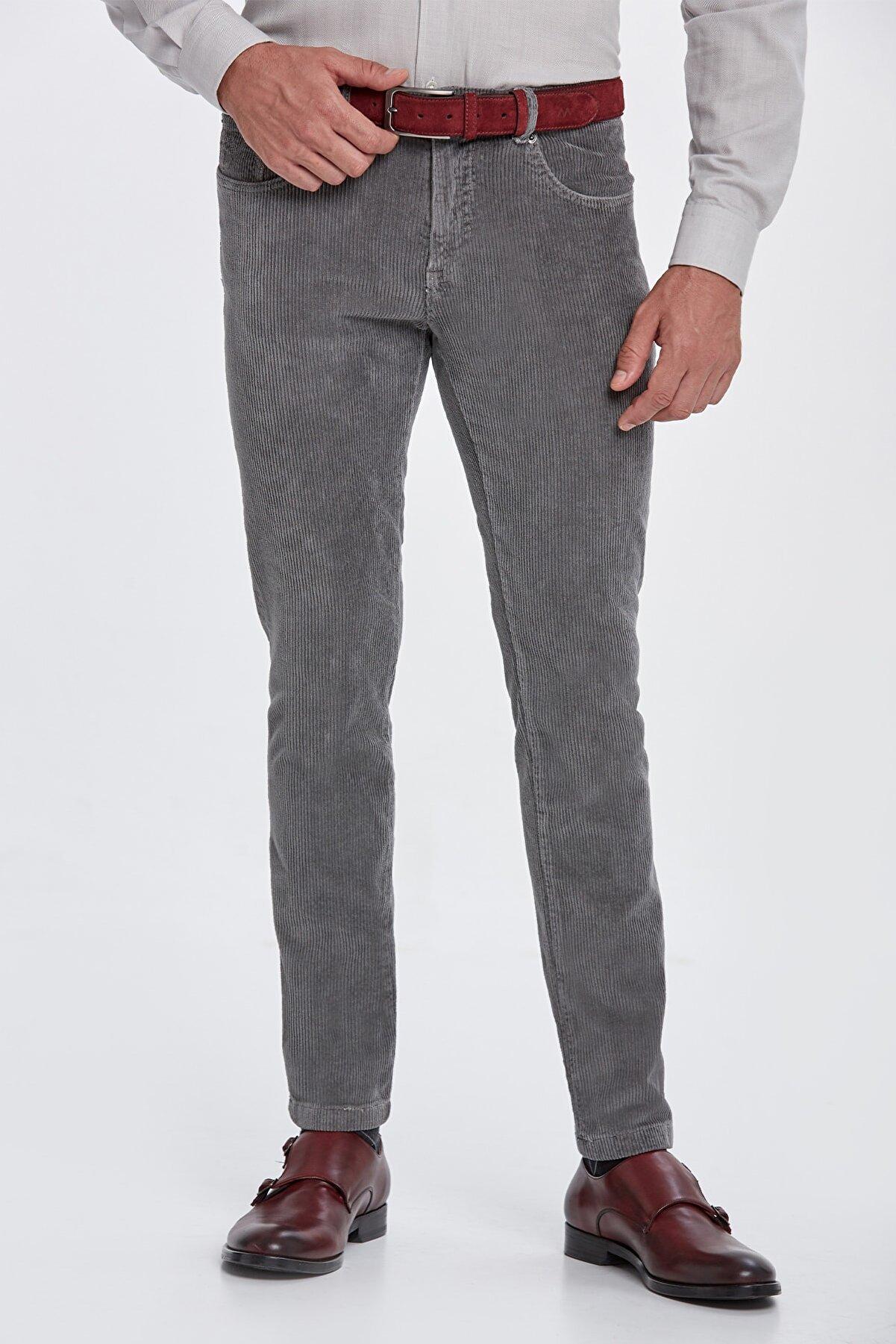 Hemington Slim Fit Gri Kadife Pantolon