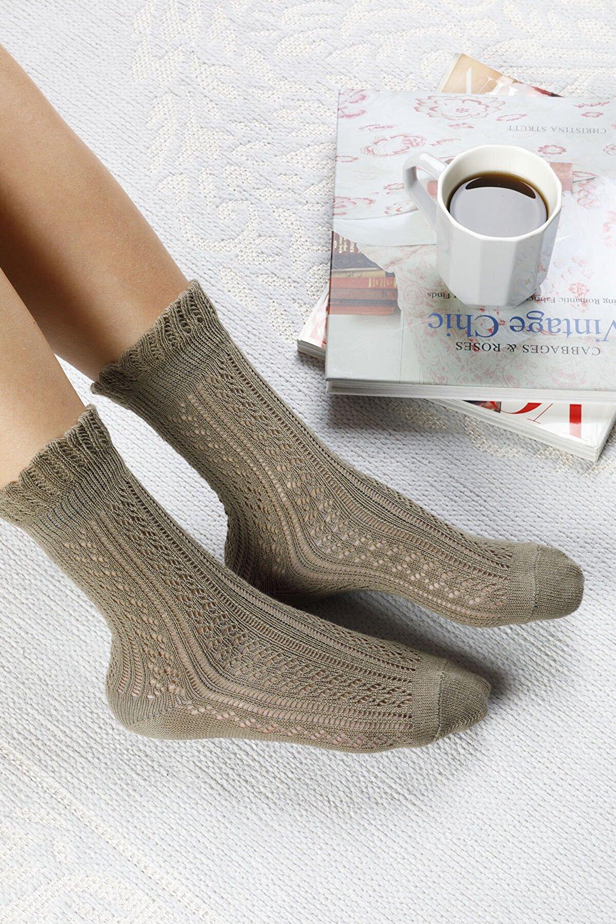 English Home Fishnet Long Pamuk Kadın Çorap Haki