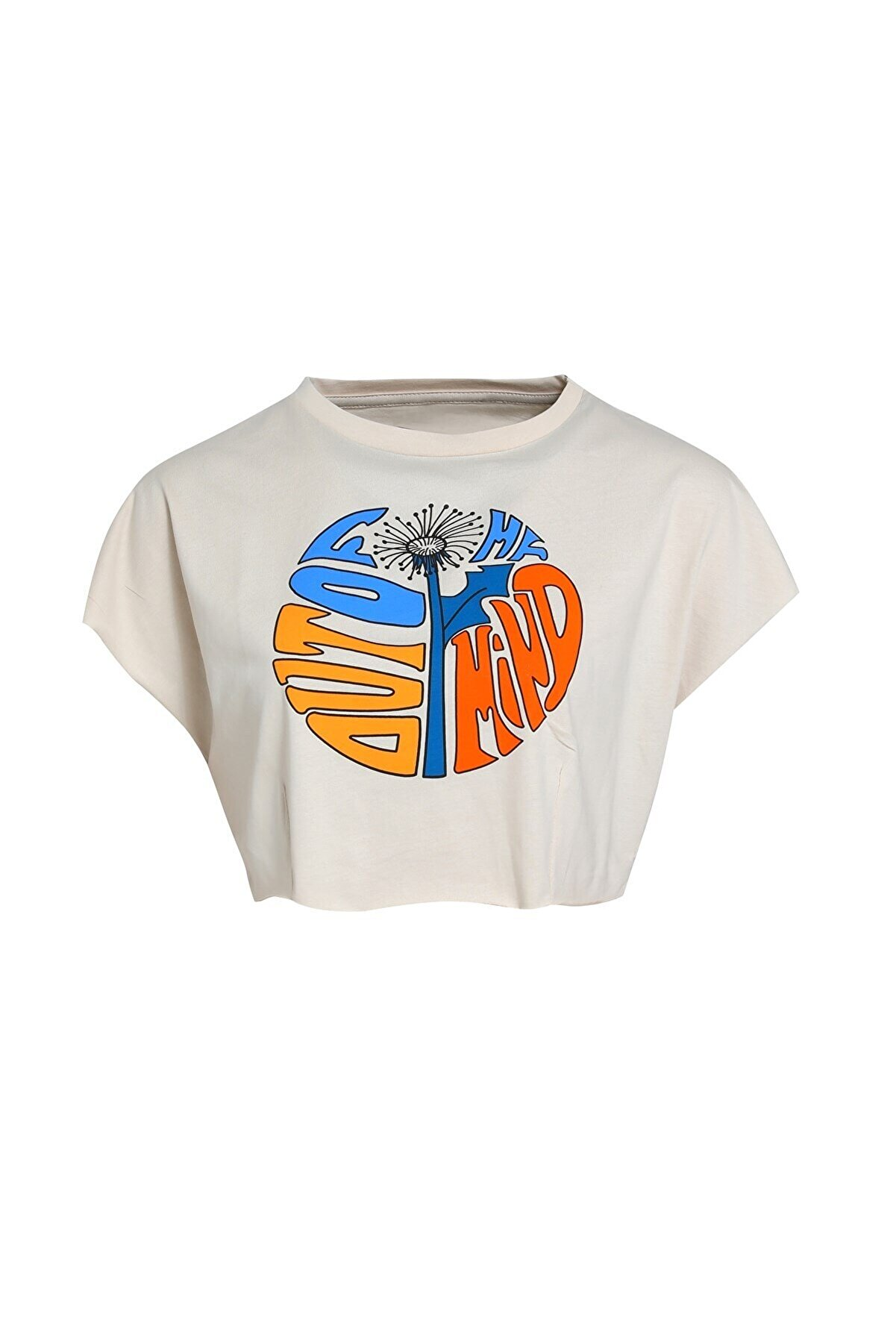 Quzu Baskılı Crop  T-Shirt Bej