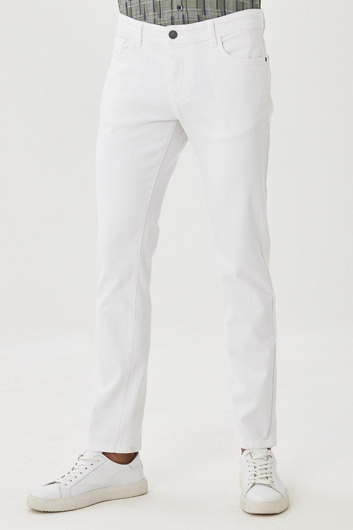 Altınyıldız Classics Erkek Beyaz 360 Derece Her Yöne Esneyen Rahat Slim Fit Pantolon