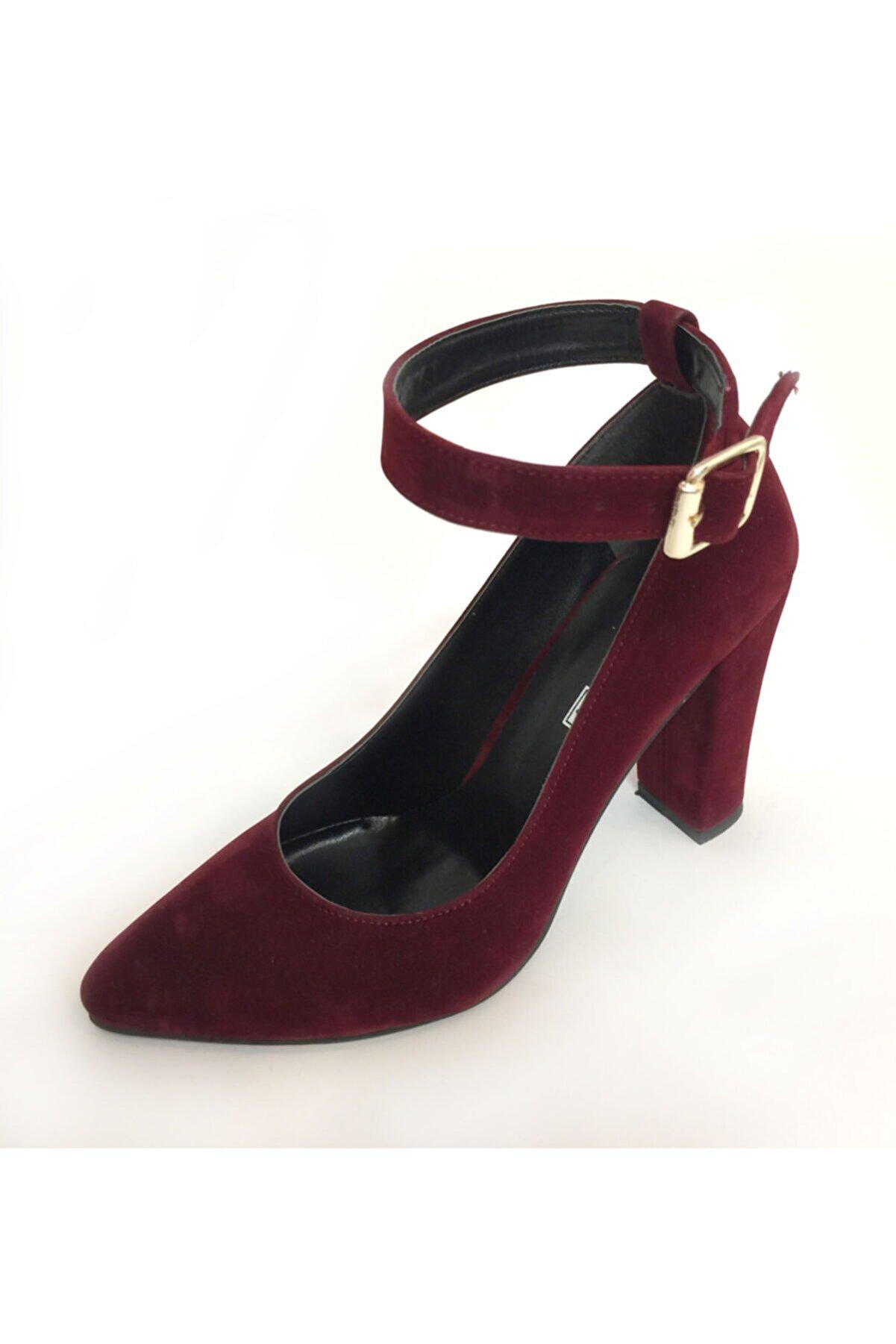 Beyaz Adım Ayakkabı Kadın Bordo Orta Boy Kalın Topuk Stiletto