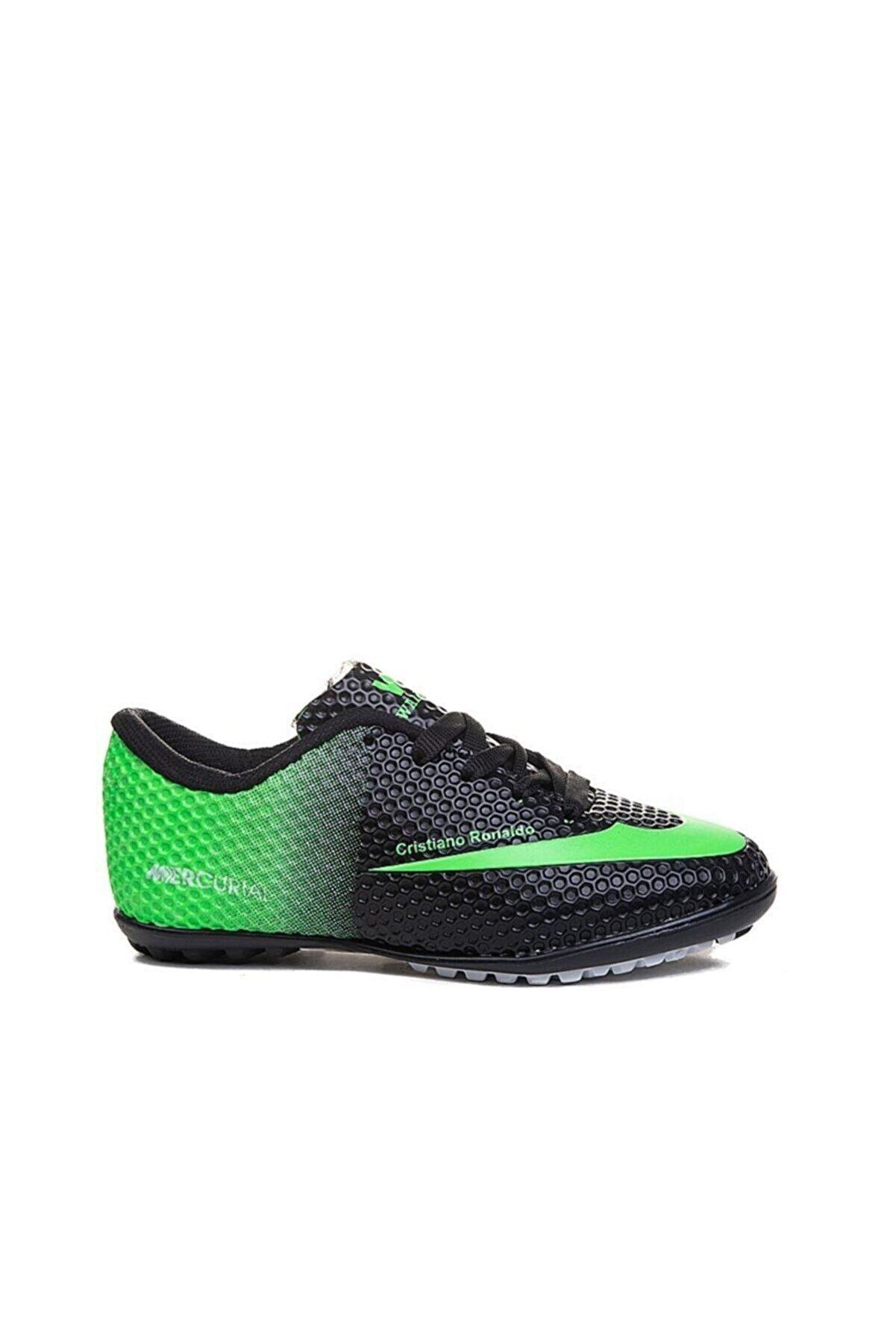 Walked Siyah Yeşil Çocuk Halı Saha Ayakkabısı