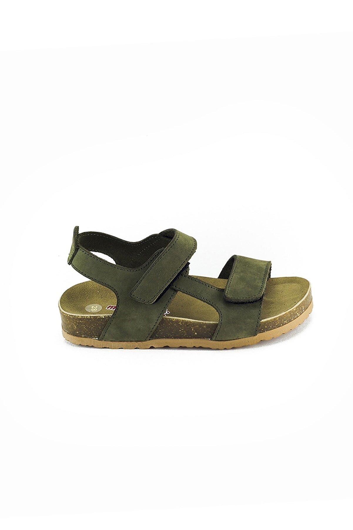 Minipicco Erkek Çocuk Haki Deri Ortopedik Sandalet