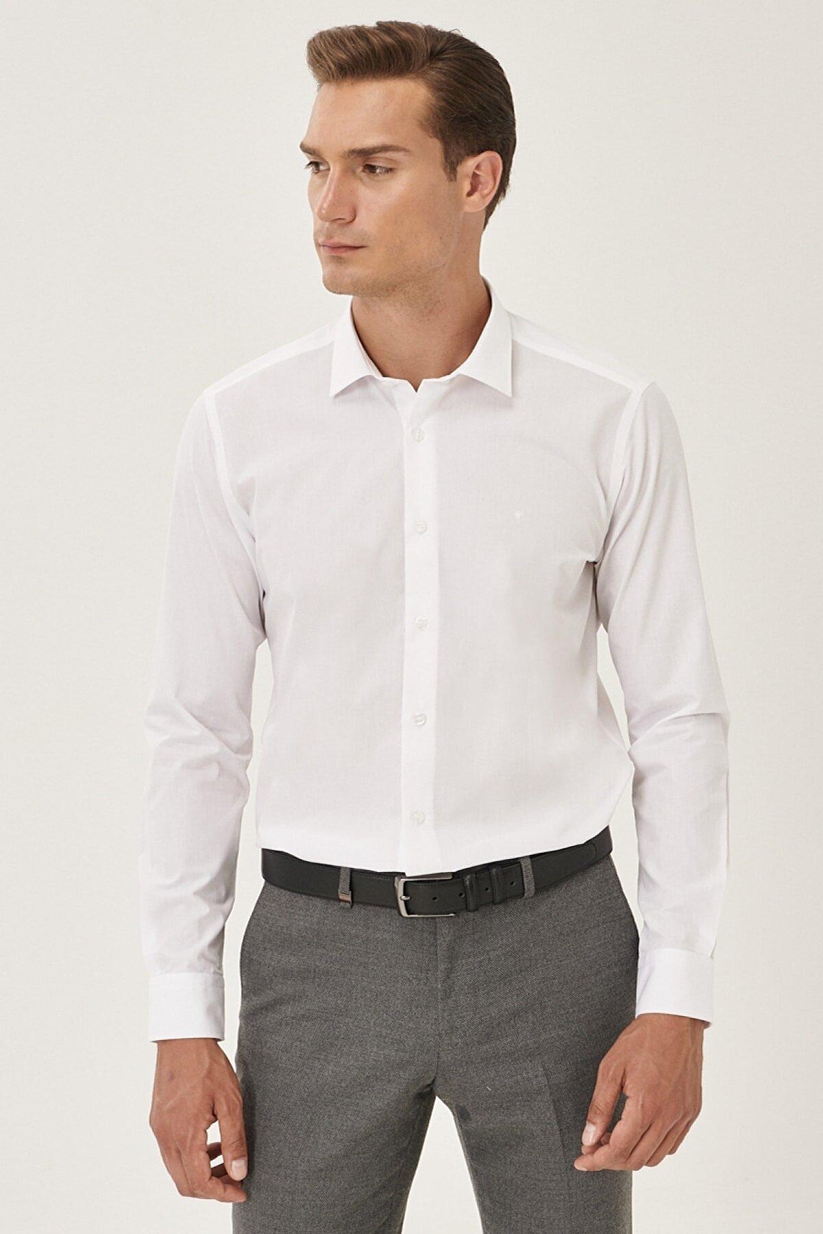 Altınyıldız Classics Erkek Beyaz Tailored Slim Fit Klasik Yaka Gömlek