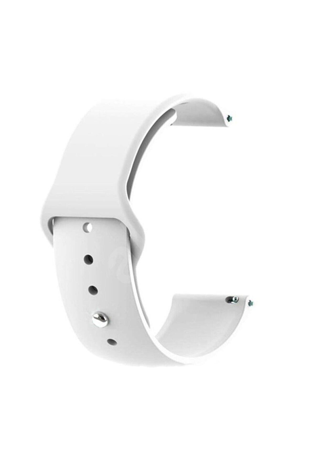 CaseStreet Case Street Google Ticwatch S2 Wear Os Kordon Klasik Silikon Krd 11 Beyaz