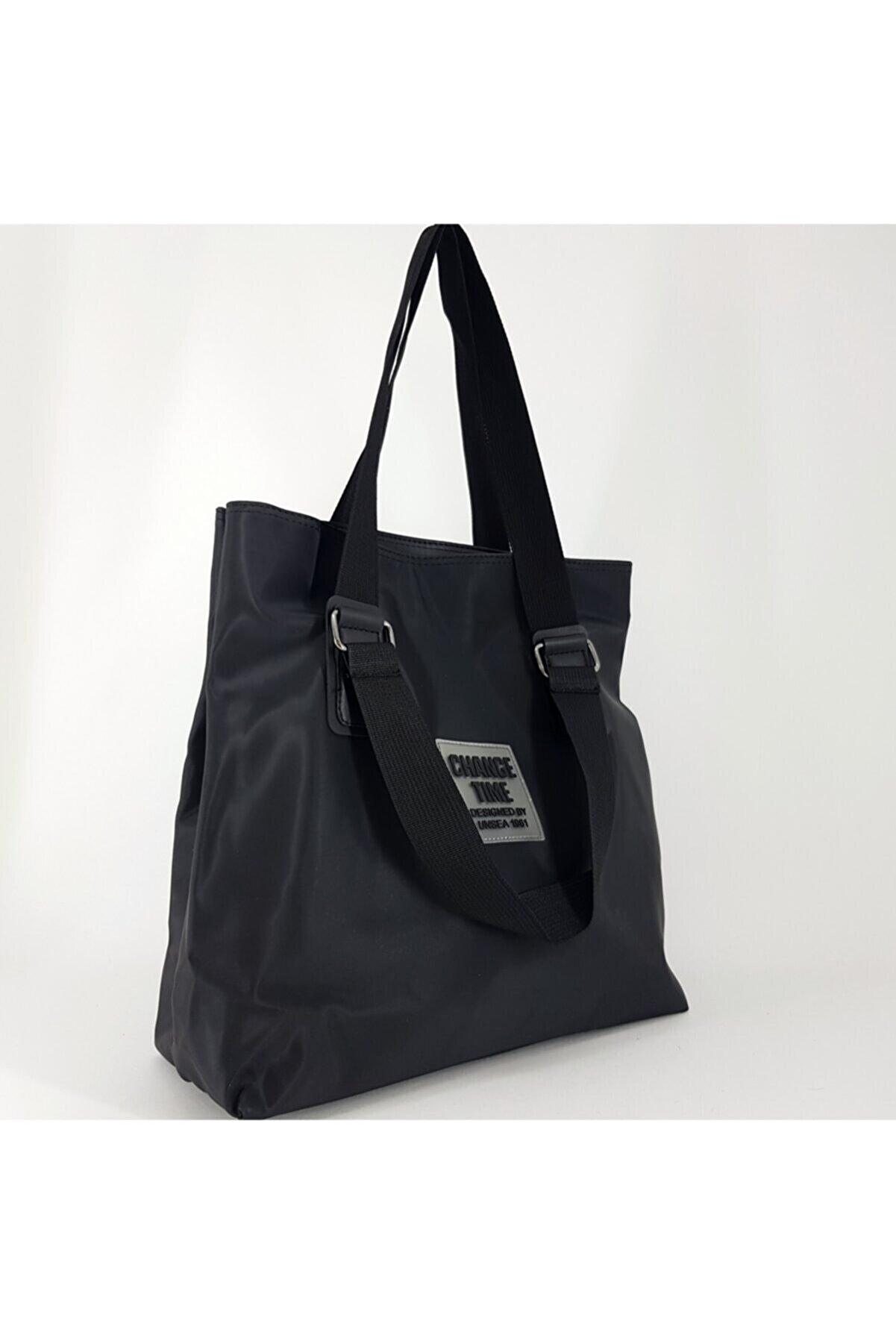 Eylül Bag Missme Siyah Change Time Pat Detayli Shopper Canta
