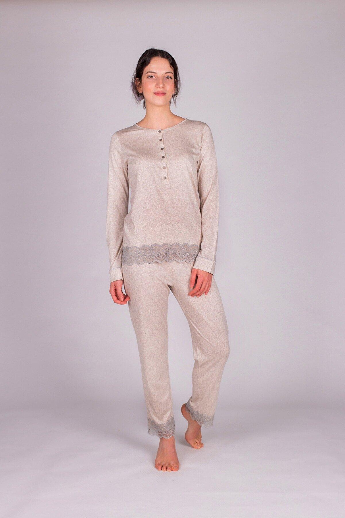 Hays Kadın Bej Melanj Modal Dantel Detaylı Pijama Takımı