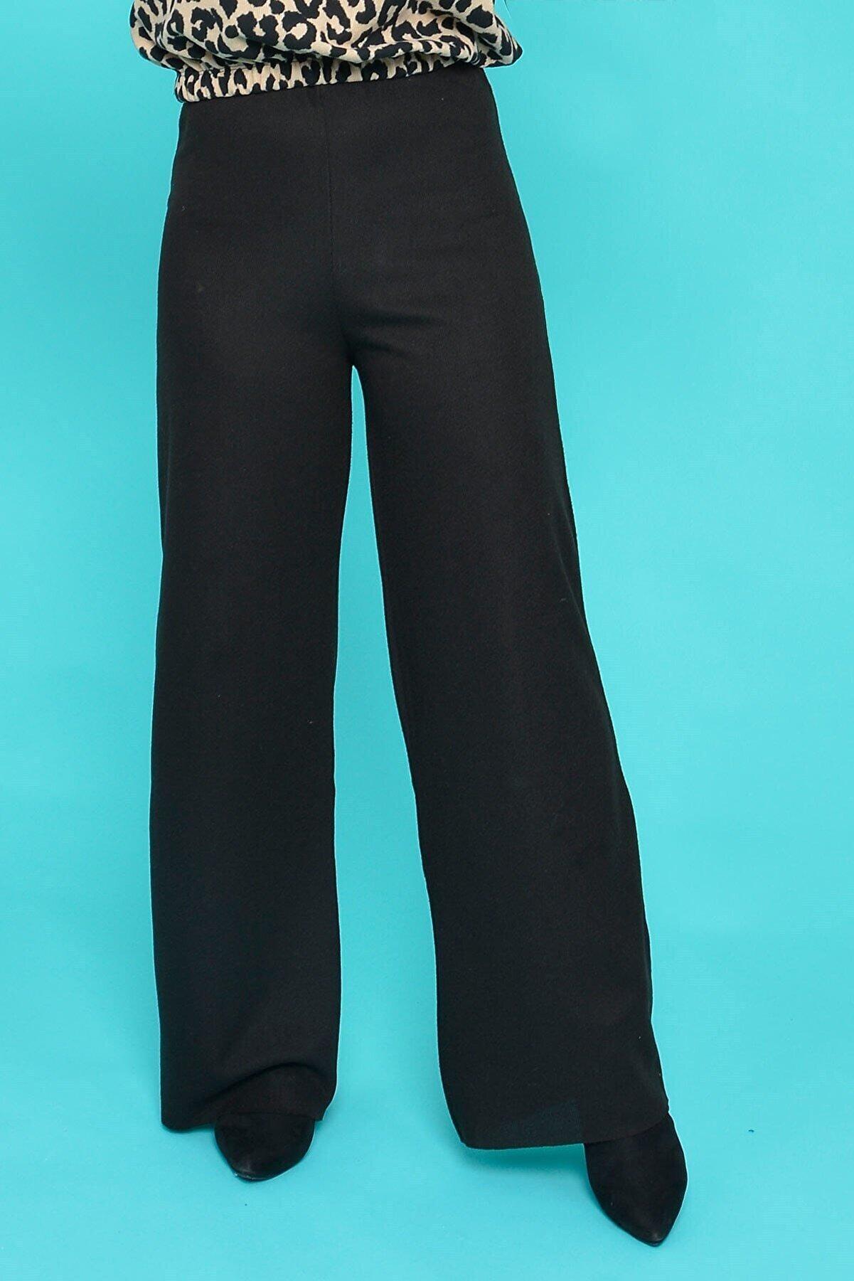 Mossta Kadın Siyah Fitilli Yüksek Bel Pantolon