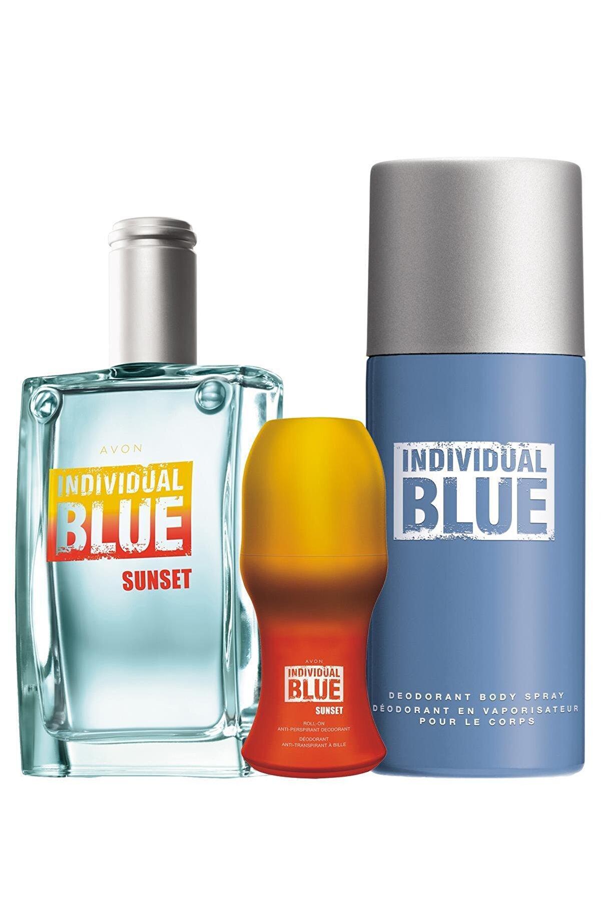 Avon Individual Blue Sunset Edt 100 ml Erkek Parfüm + Rollon Ve Deodorant Paketi 8681298700104