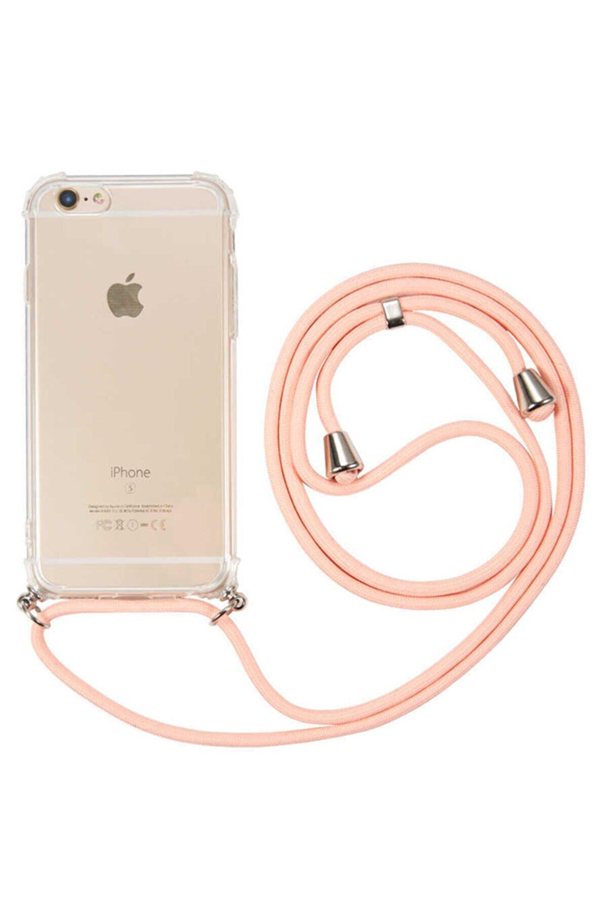 Fibaks Apple Iphone 6/6s Kılıf Ipli Boyun Askılı Köşe Korumalı Şeffaf Kapak
