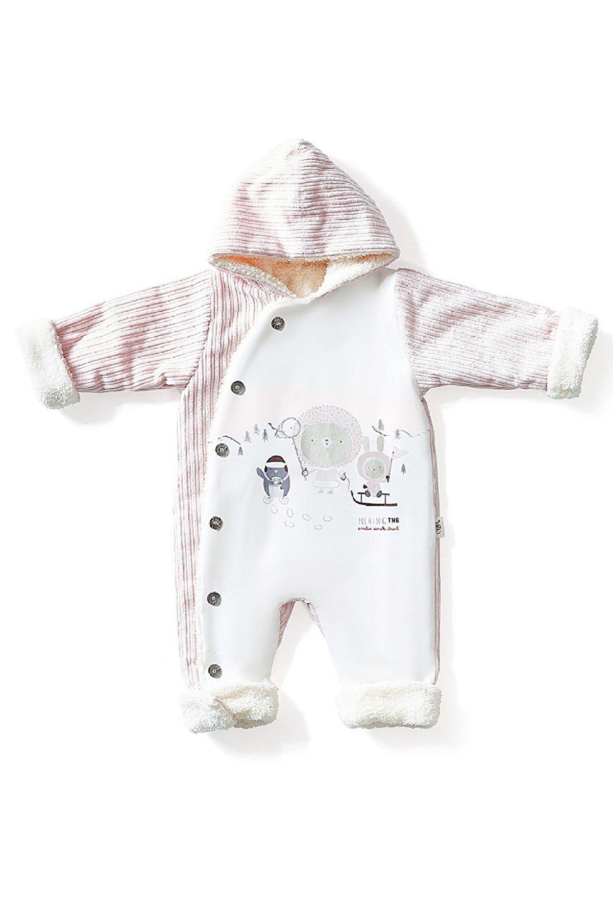 BBX EXCLUSIVE Unisex Bebek Pembe Sevimli Kar Temalı Dışı %100 Pamuk Kadife İçi Welsoft Tulum