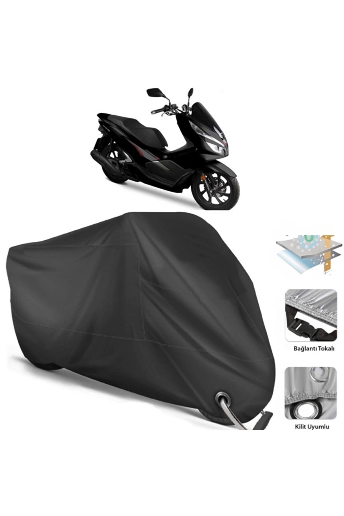CoverPlus Honda Pcx Motor Brandası Arka Çanta Uyumlu (bağlantı, Kilit Uyumlu)-siyah