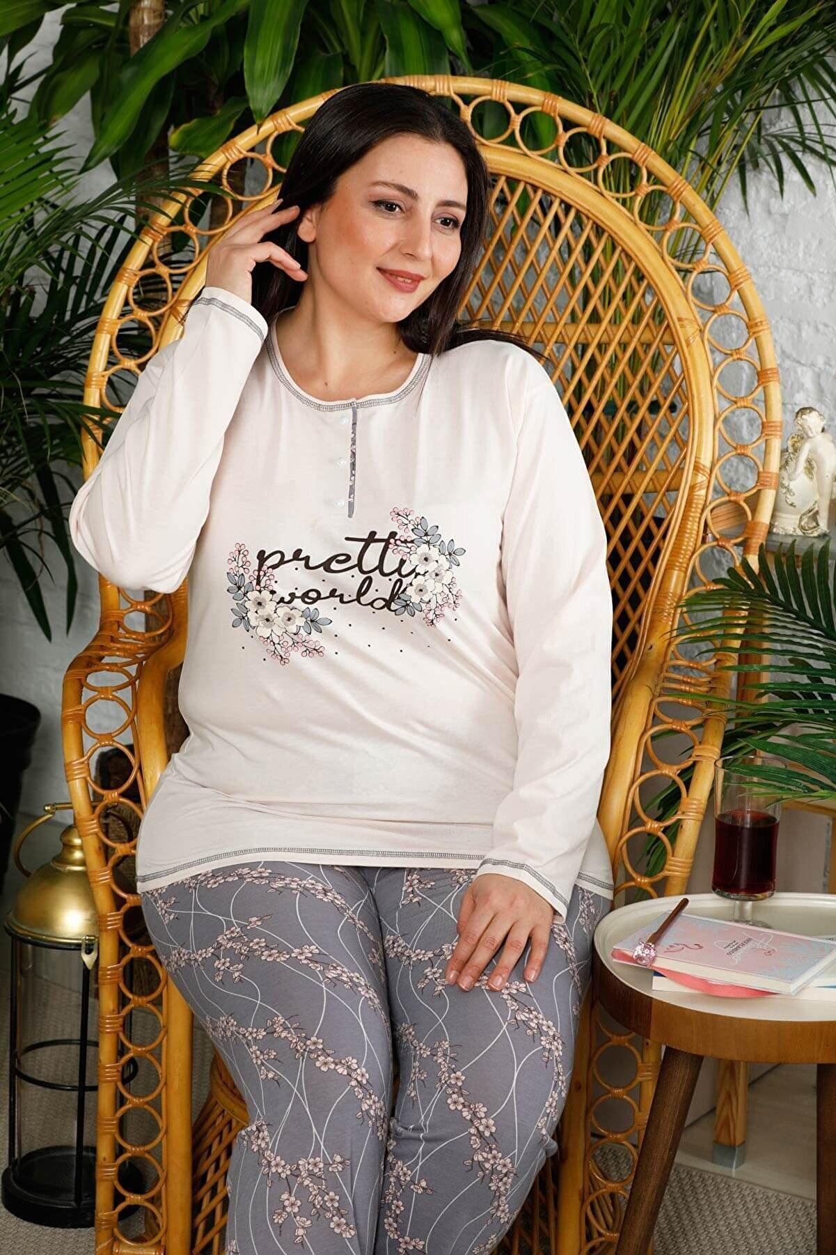 Mossta Kadın Pembe Uzun Kol Battal Beden Pijama Takım
