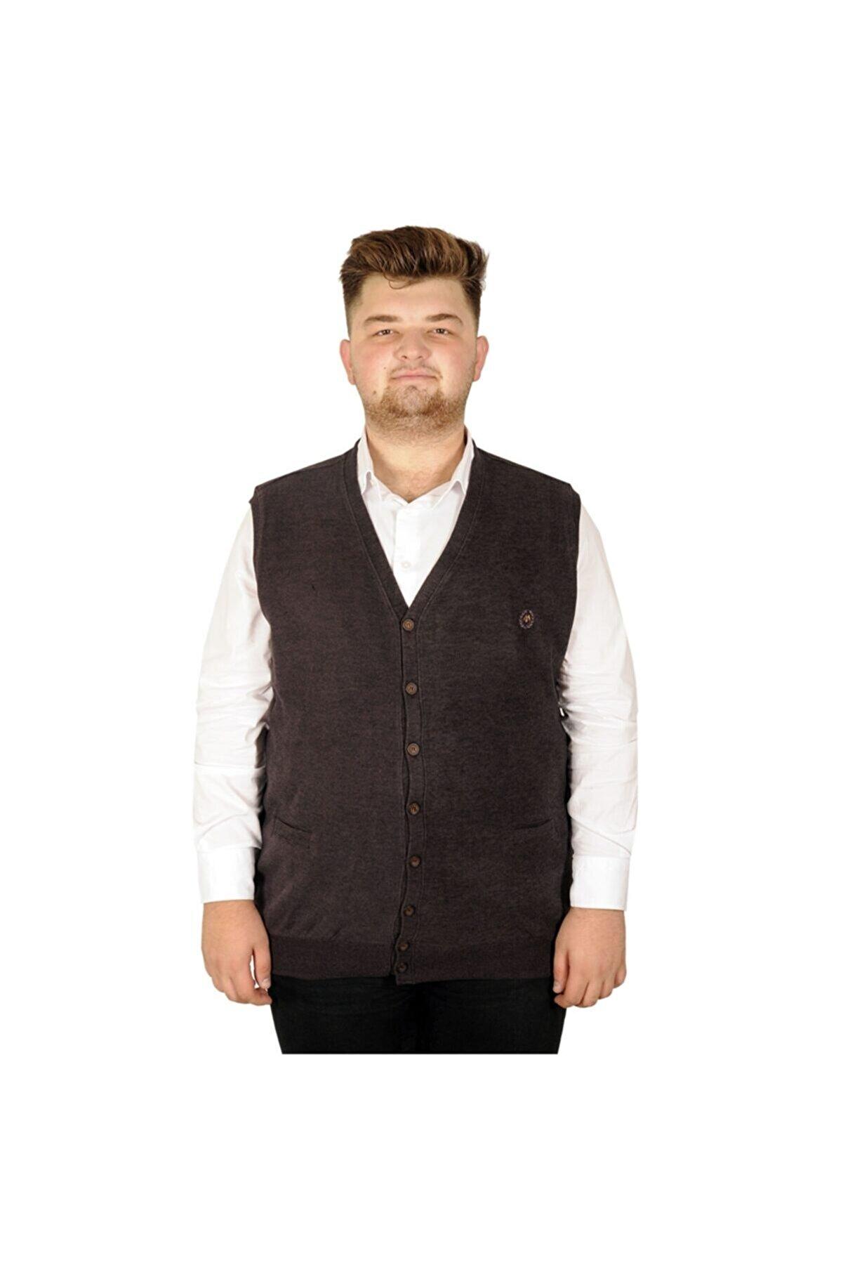Modexl Erkek Kahverengi Büyük Beden Yelek Selanik 20545