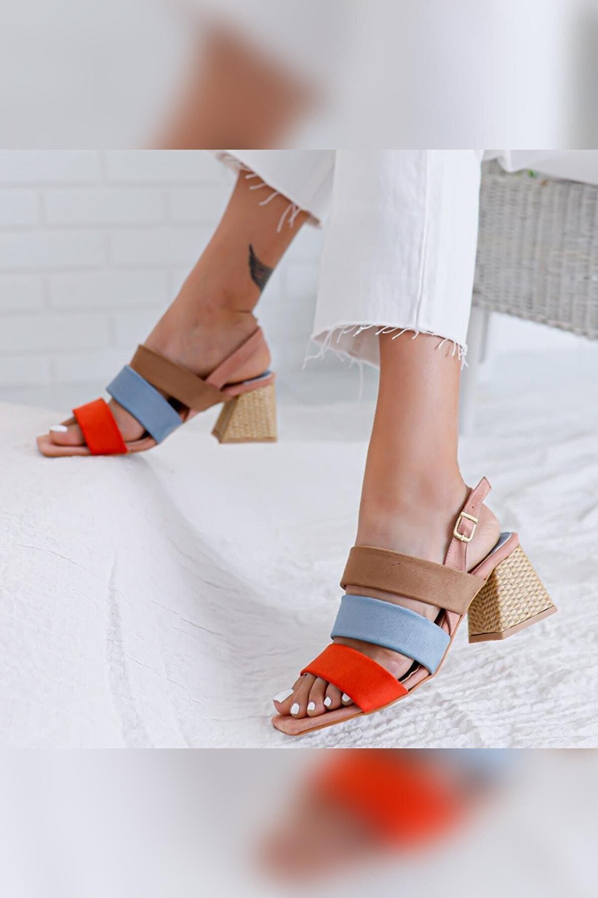 Limoya Kadın Pudra Kum Bebe Mavisi Portakal Alçak Hasır Topuklu Sandalet