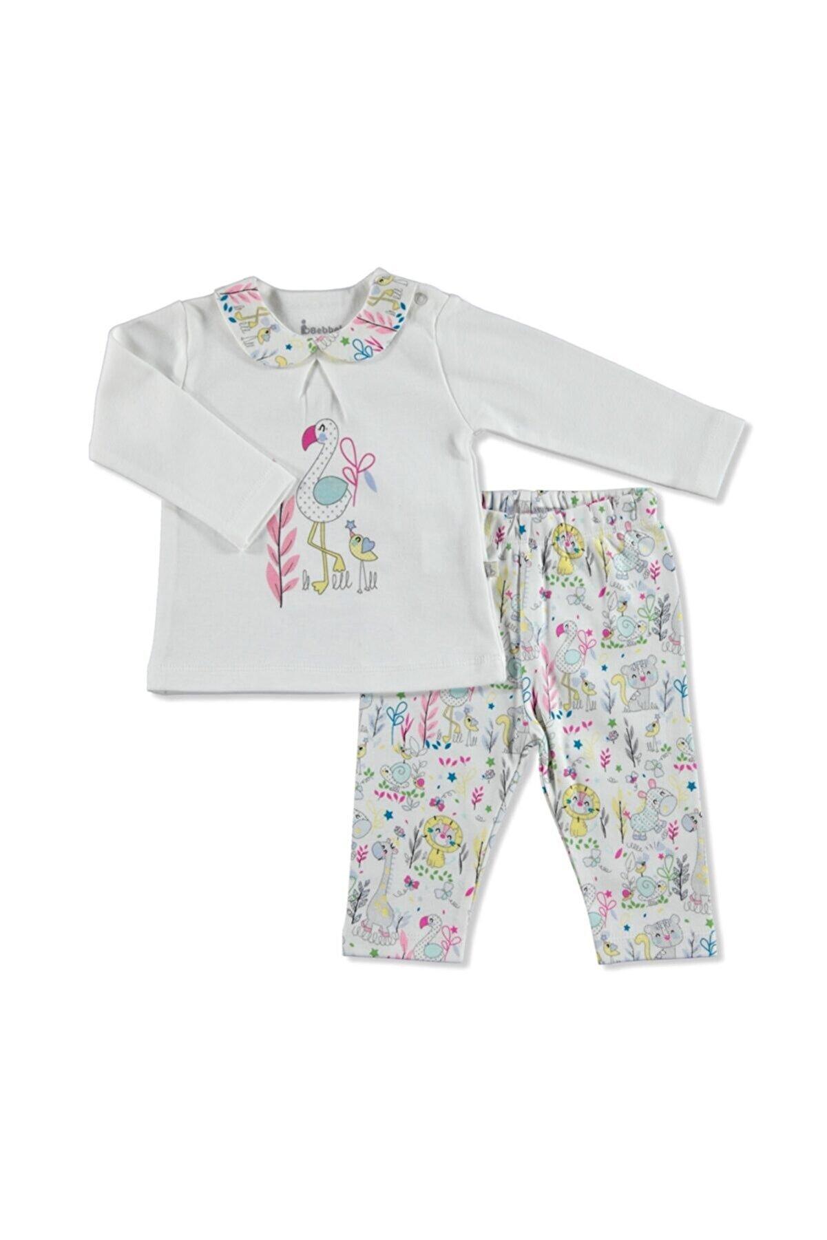 Bebbek Kız Bebek  Ekru Jungle Bluz-Tayt  Alt-Üst Takım