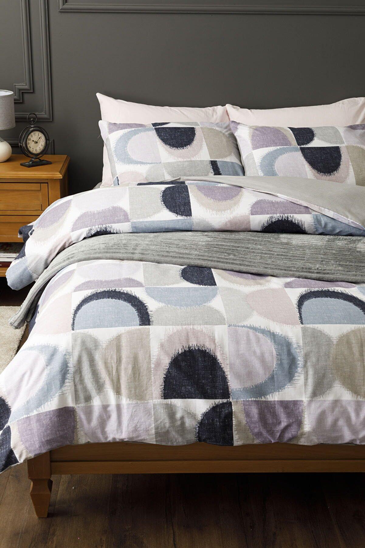 English Home Abstract Pamuk King Size Nevresim Takımı 240x220 Cm Mavi-lila
