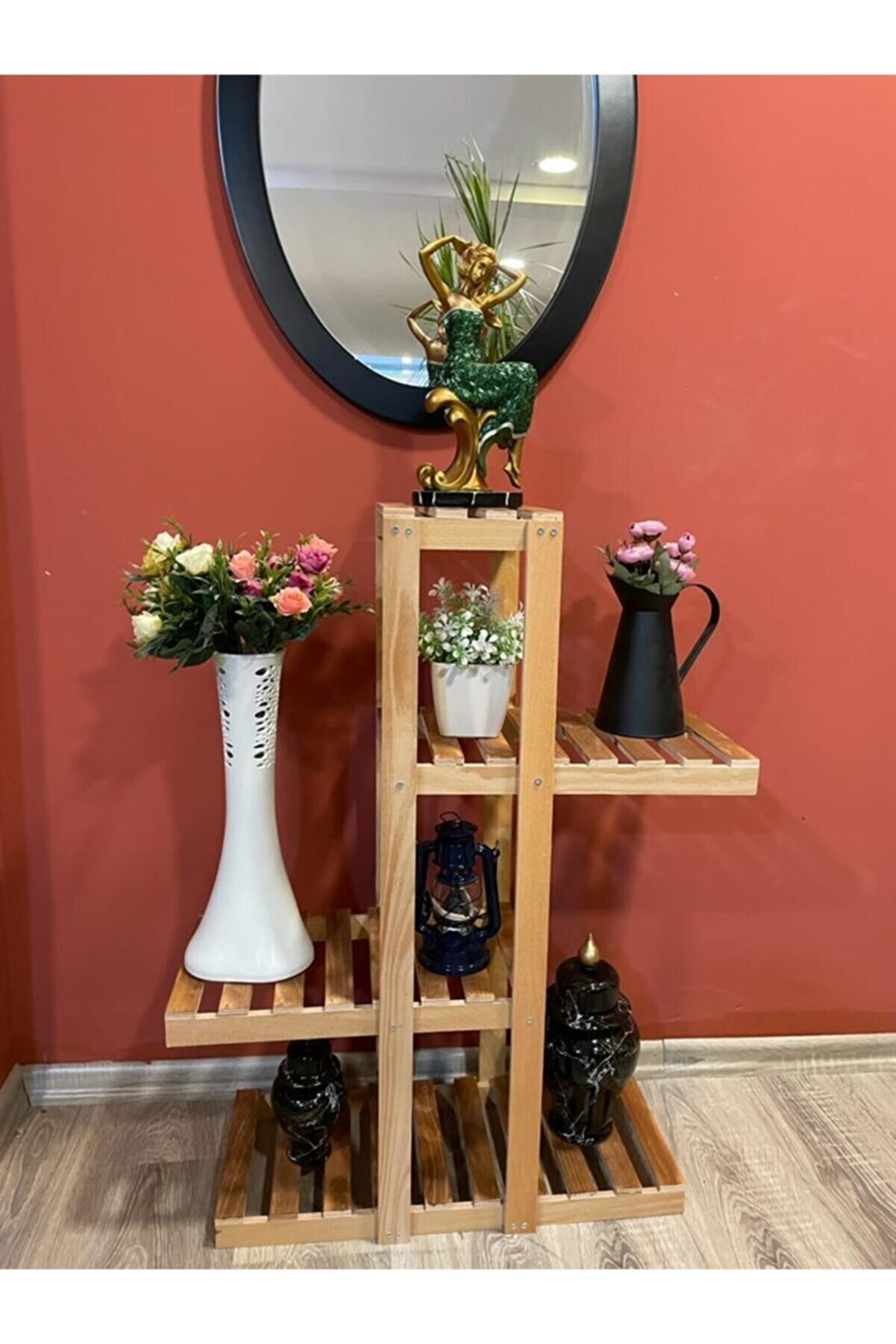 YUNUSOĞLU HOME Ahşap Dekoratif Balkon Bahçe Çiçeklik Saksı Standı