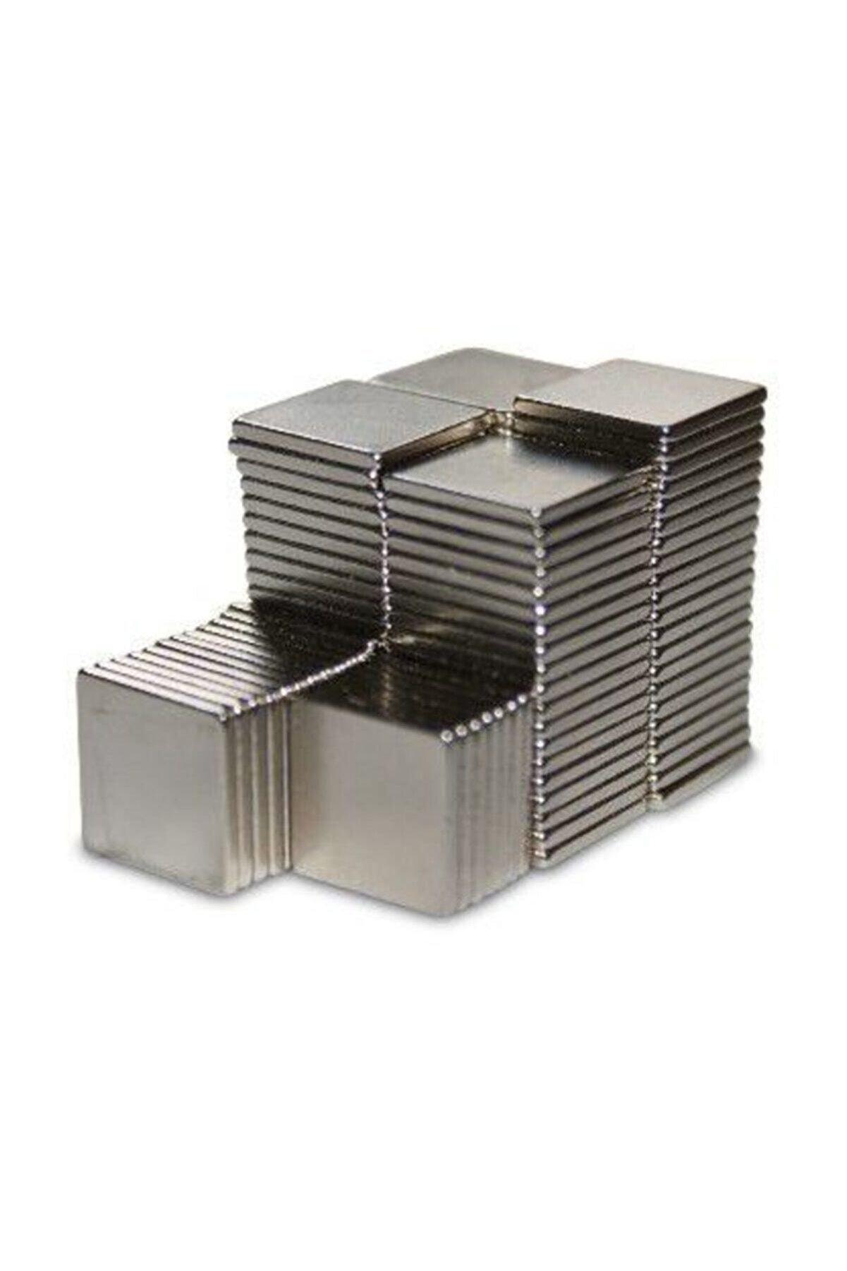 Dünya Magnet 50 Adet 10x10x1 Süper Güçlü Kare Neodyum Mıknatıs Magnet (50'li Paket)