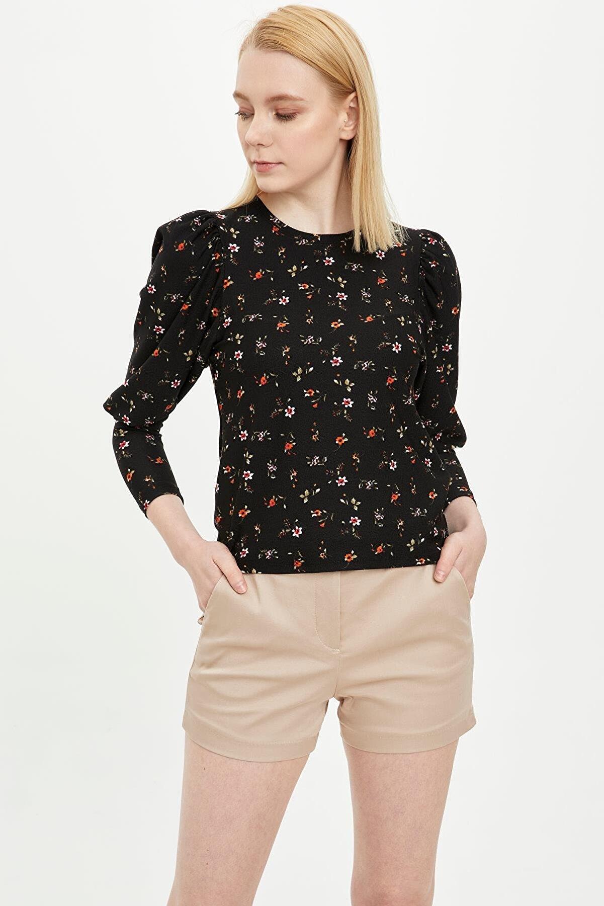 Defacto Çiçek Desenli Uzun Kollu Tişört