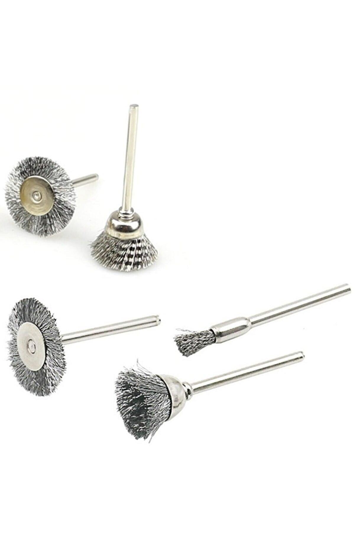 Depolife Dremel Proxxon Uyumlu 5 Parça Çelik Tel Fırça Seti Pas Kir Temizleme Zımparalama Kalıpçı Seti
