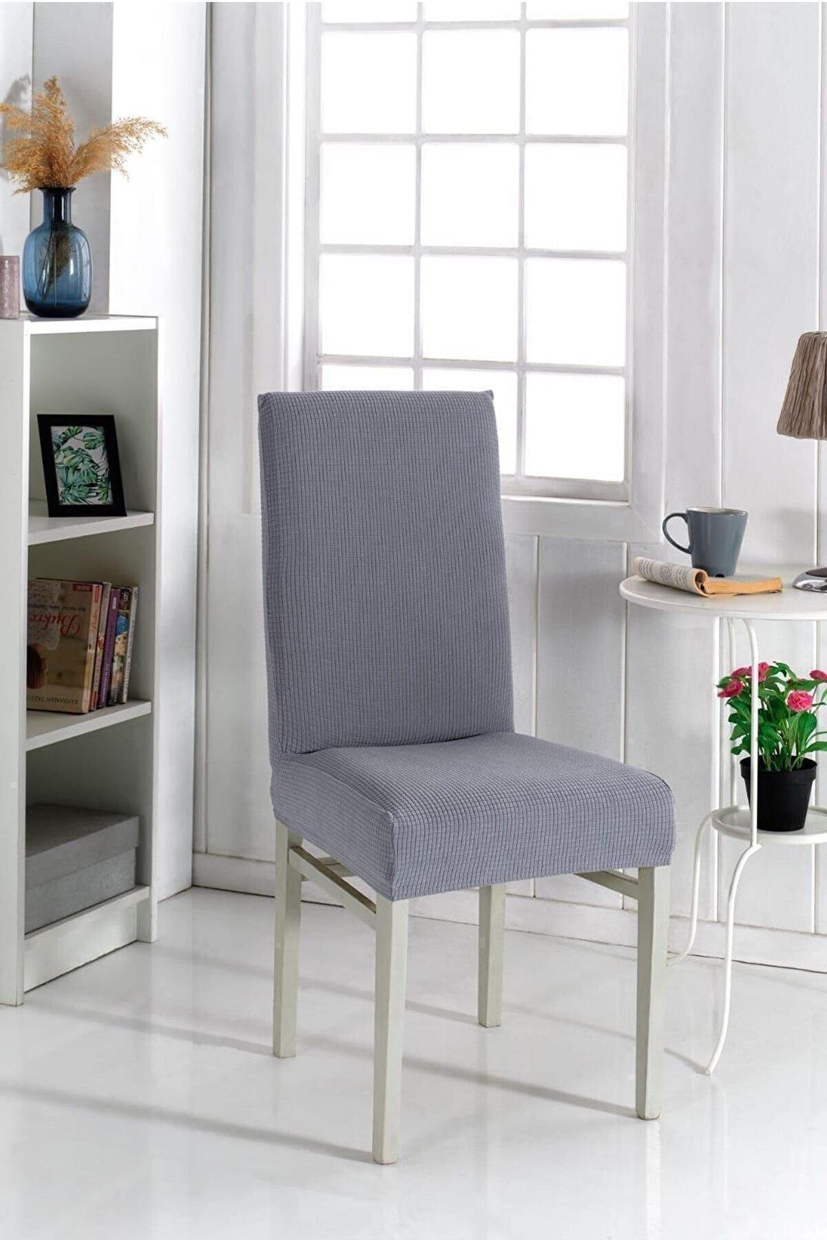 KARAHANLI Sandalye Kılıfı Likralı Yıkanabilir Lastikli Sandalye Örtü Koyu Gri Renk