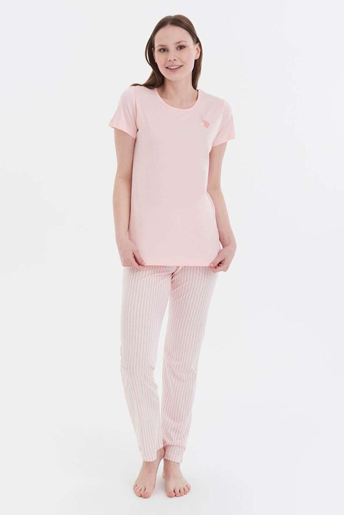 US Polo Assn Kadın Pudra Yuvarlak Yaka Pijama Takım