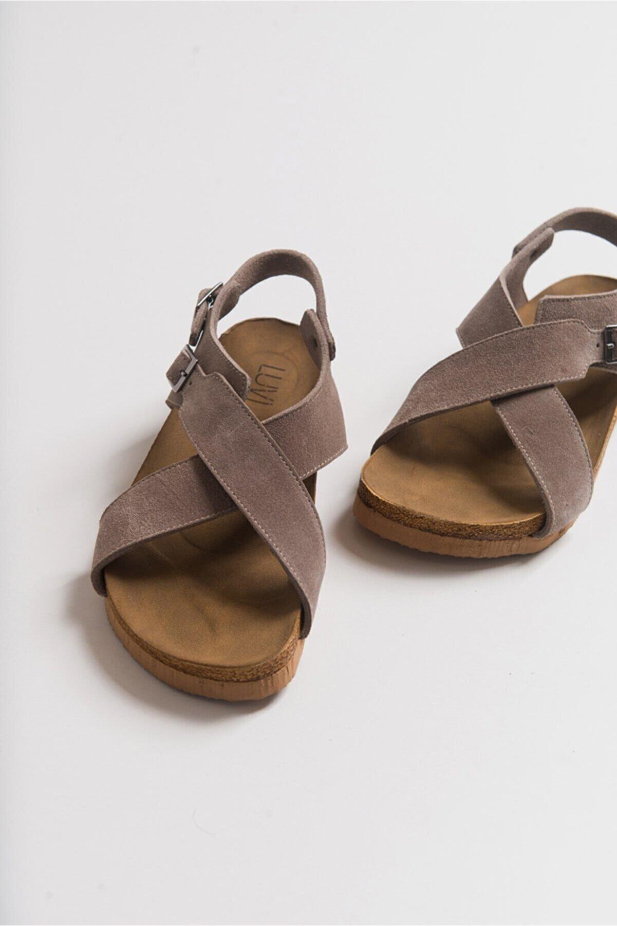 luvishoes 201 Hakiki Deri Vizon Süet Kadın Sandalet