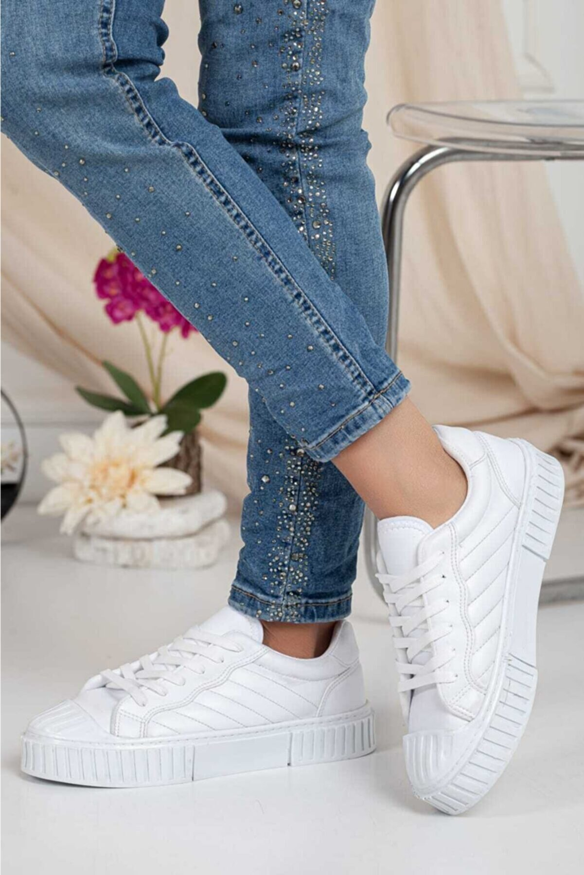 Odal Shoes Kadın-erkek Ünisex Dikişli Perfect Beyaz Sneaker