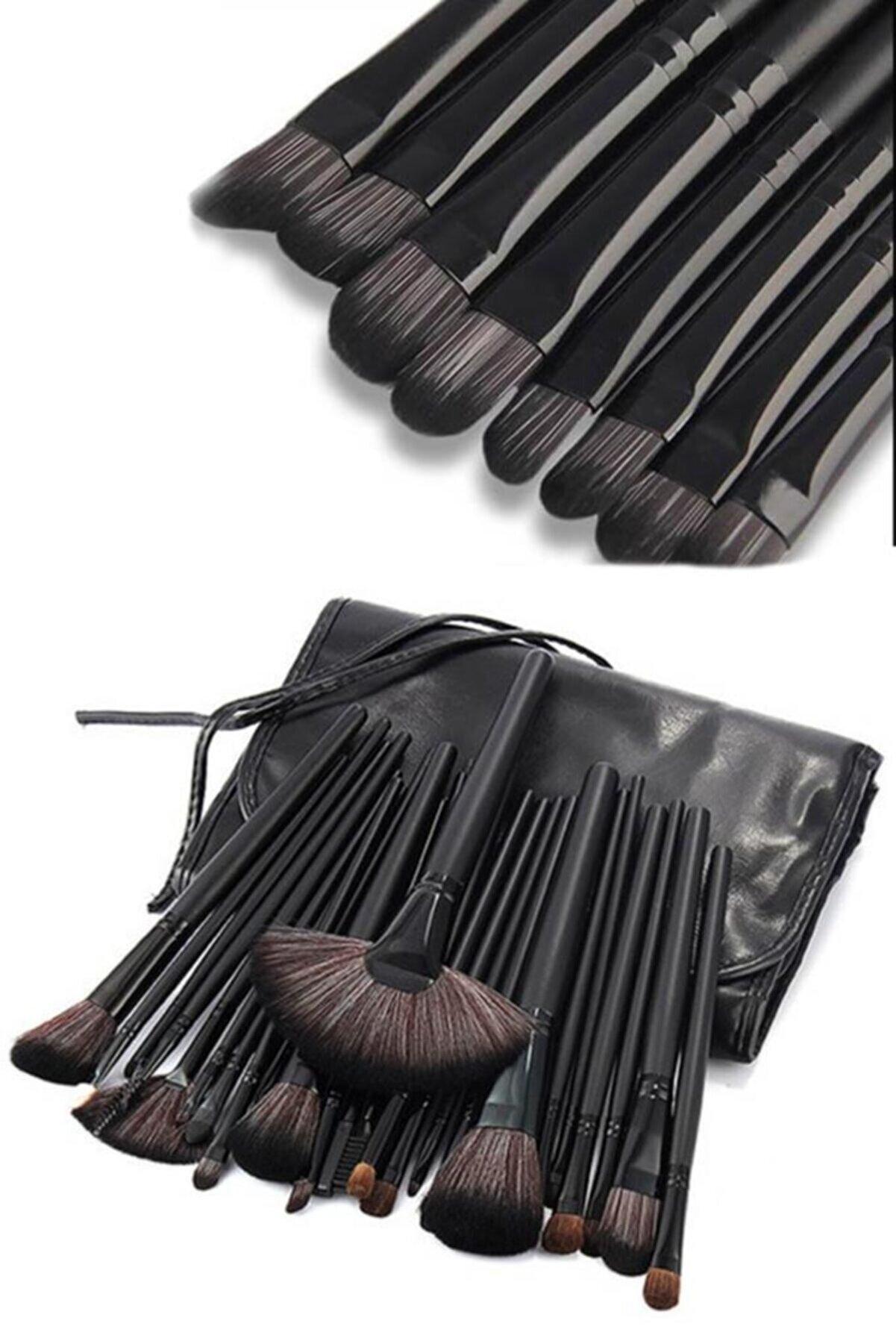 MUJGAN 24'lü Profesyonel Makyaj Fırça Seti Siyah Renk