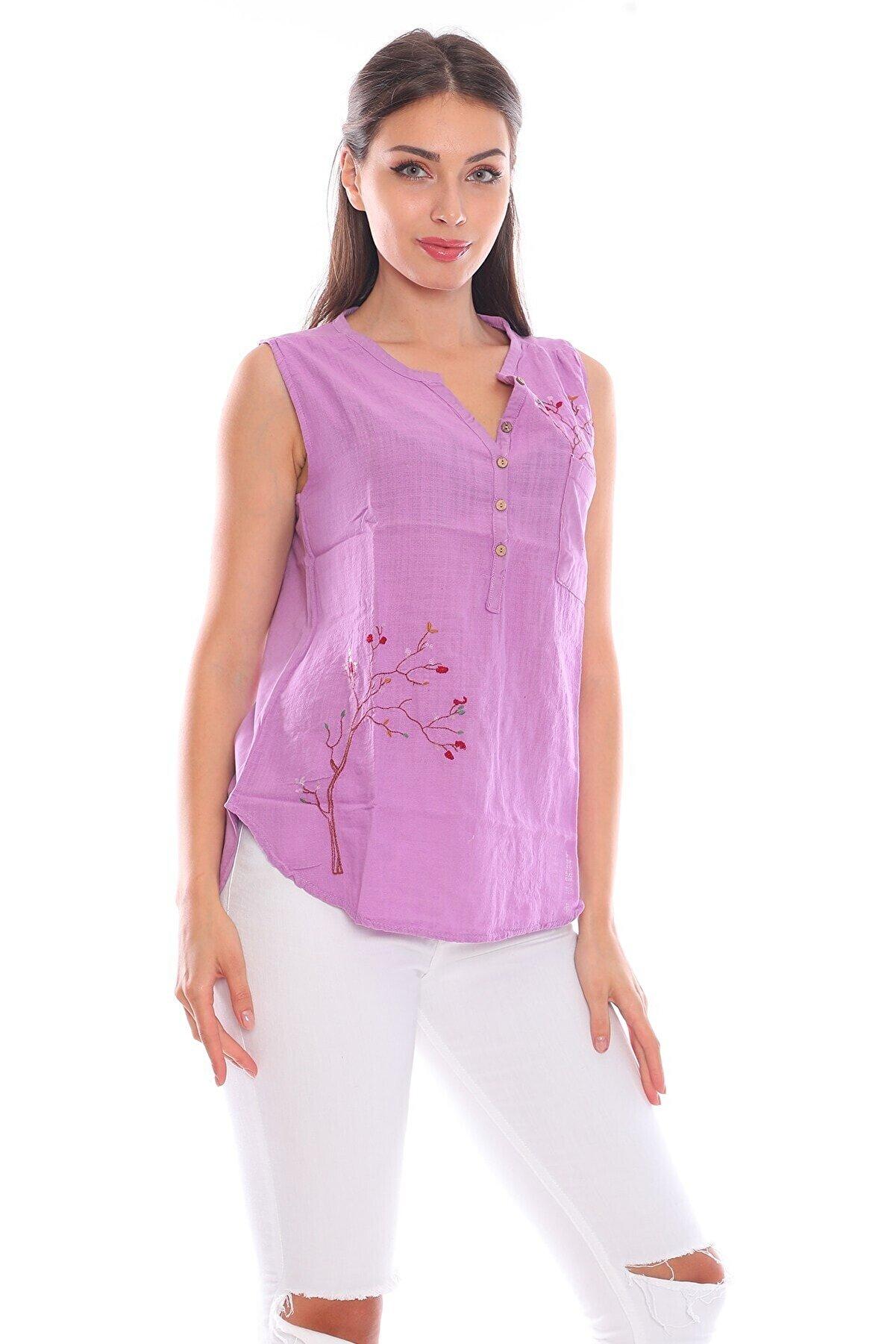 Alışveriş Sokağı Çiçek Işlemeli Etnik Tasarım Viskos Kumaş Bluz