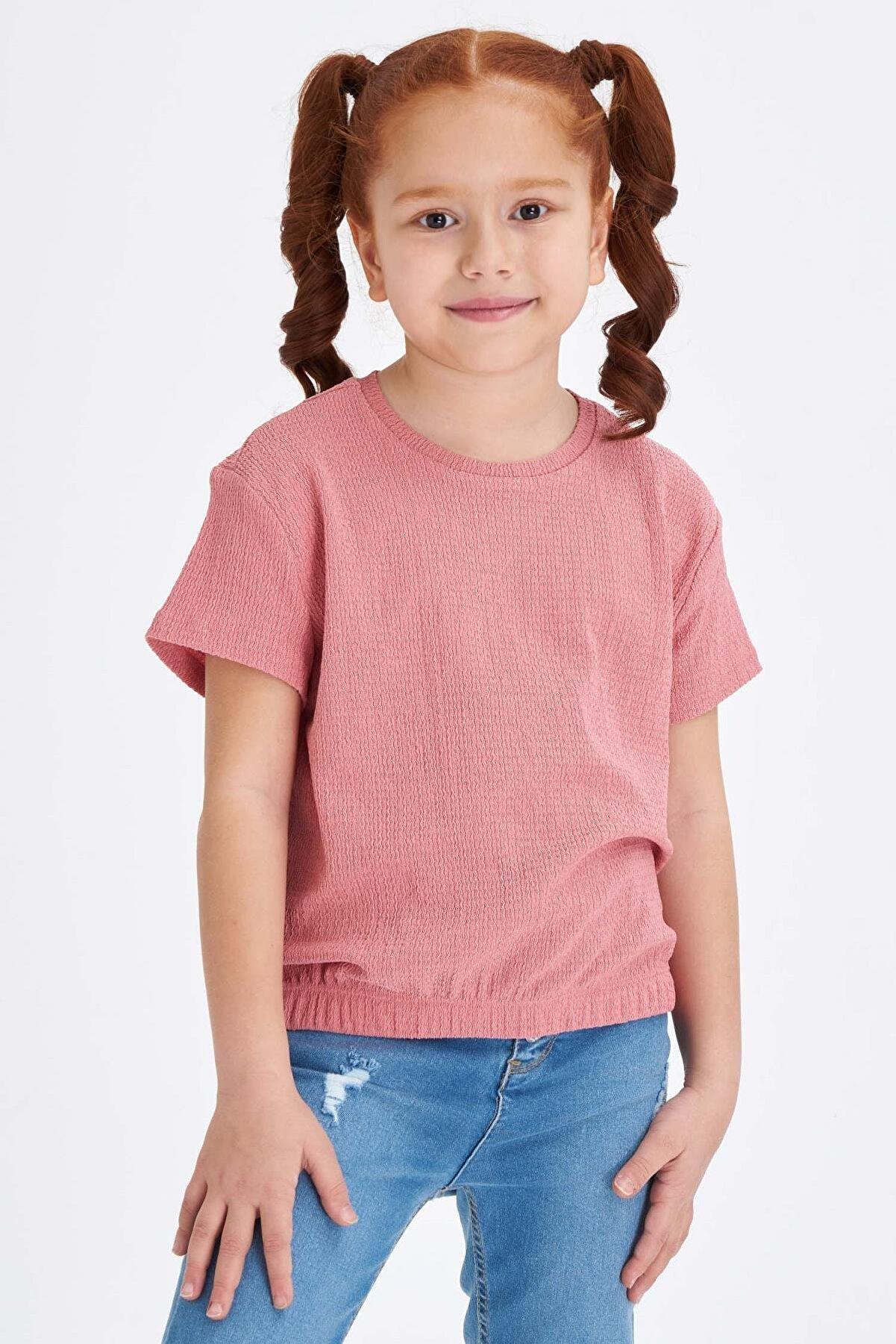 Defacto Kız Çocuk Yarım Düşük Kol Basic Tişört