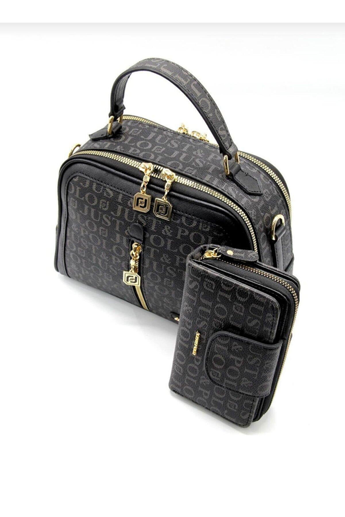 Just Polo Kadın Siyah 4 Bölmeli Çanta ve Cüzdan Kombini