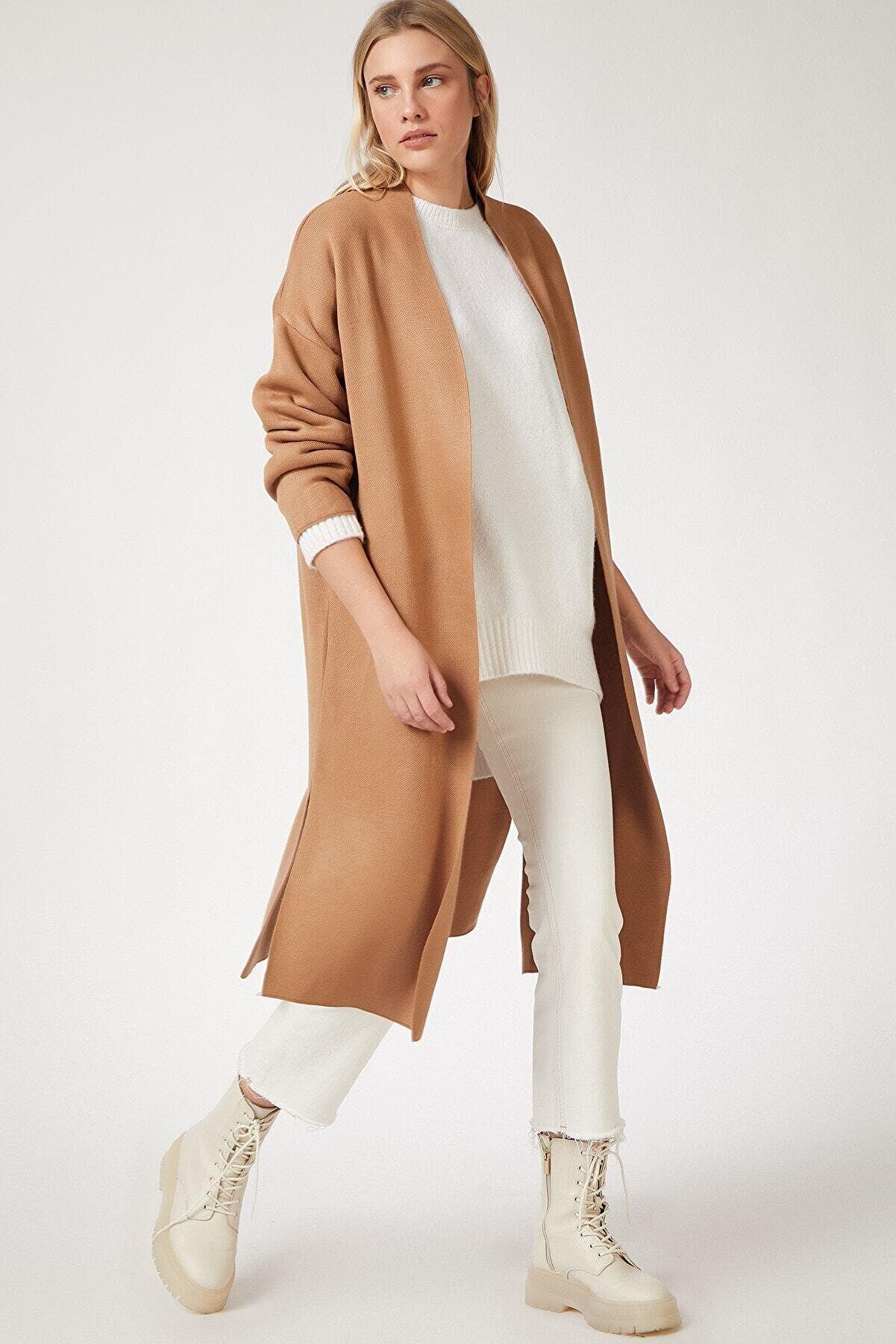 femen Kadın Bisküvi Yırtmaçlı Uzun Triko Hırka