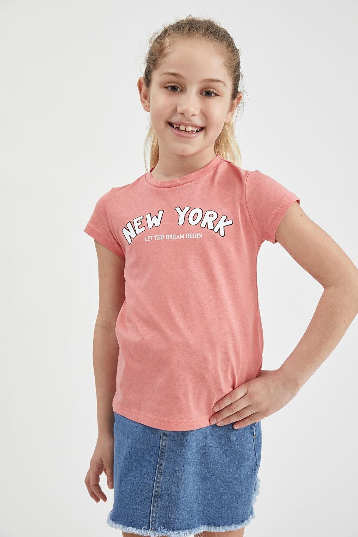Defacto Kız Çocuk Bordo Yazı Baskılı Kısa Kol Tişört
