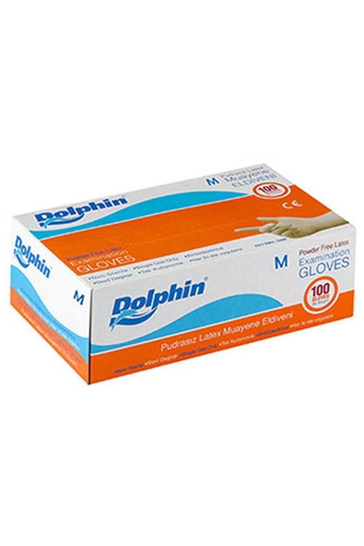 Dolphin Beyaz Lateks Eldiven Pudrasız m 100lü Paket
