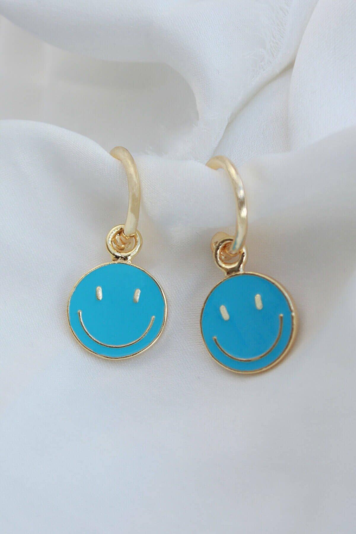 Niki Aksesuar Turkuaz Mavi Mineli Smile Küpe